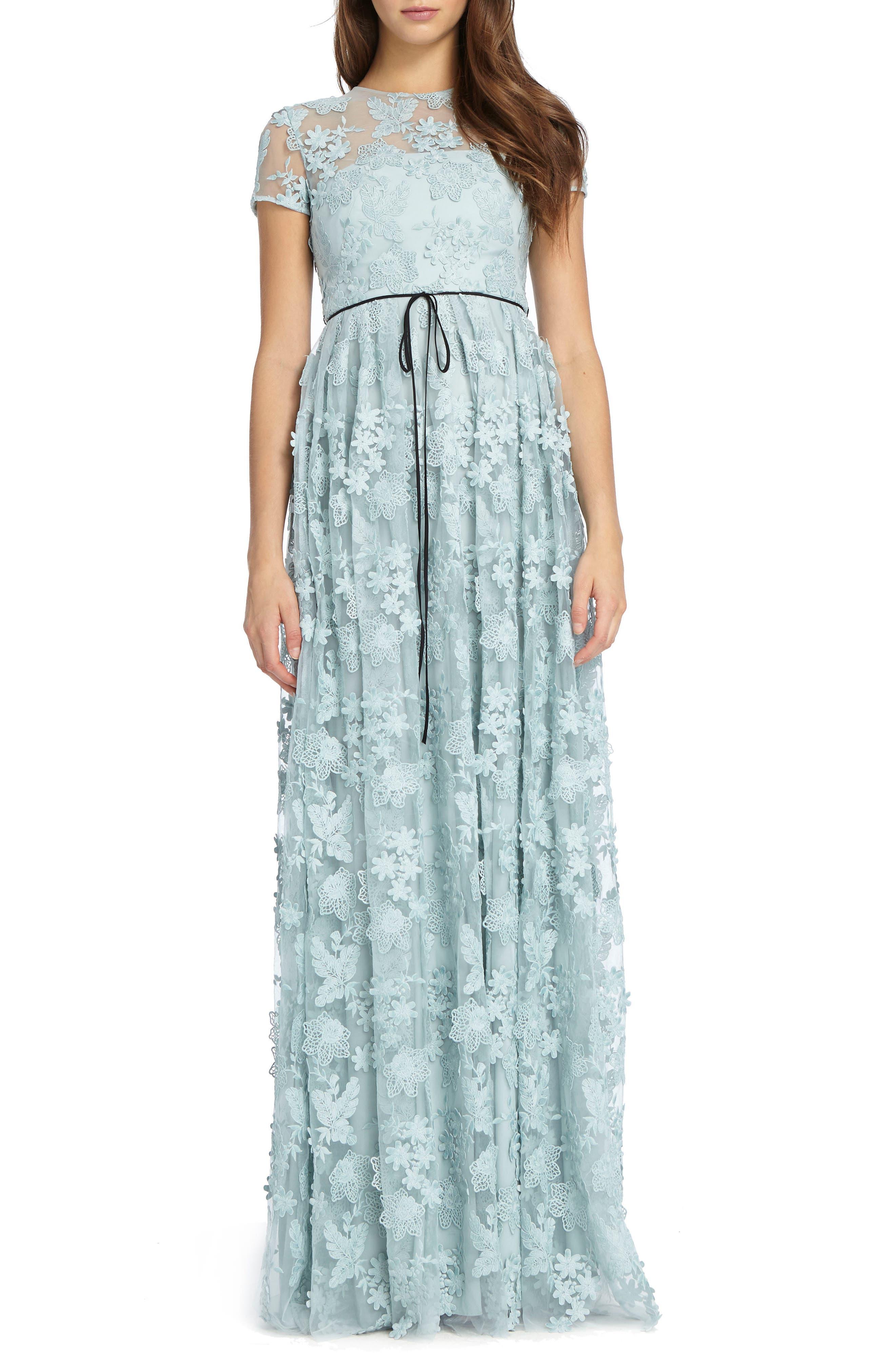 3D Floral Appliqué Gown,                             Main thumbnail 1, color,                             Sky
