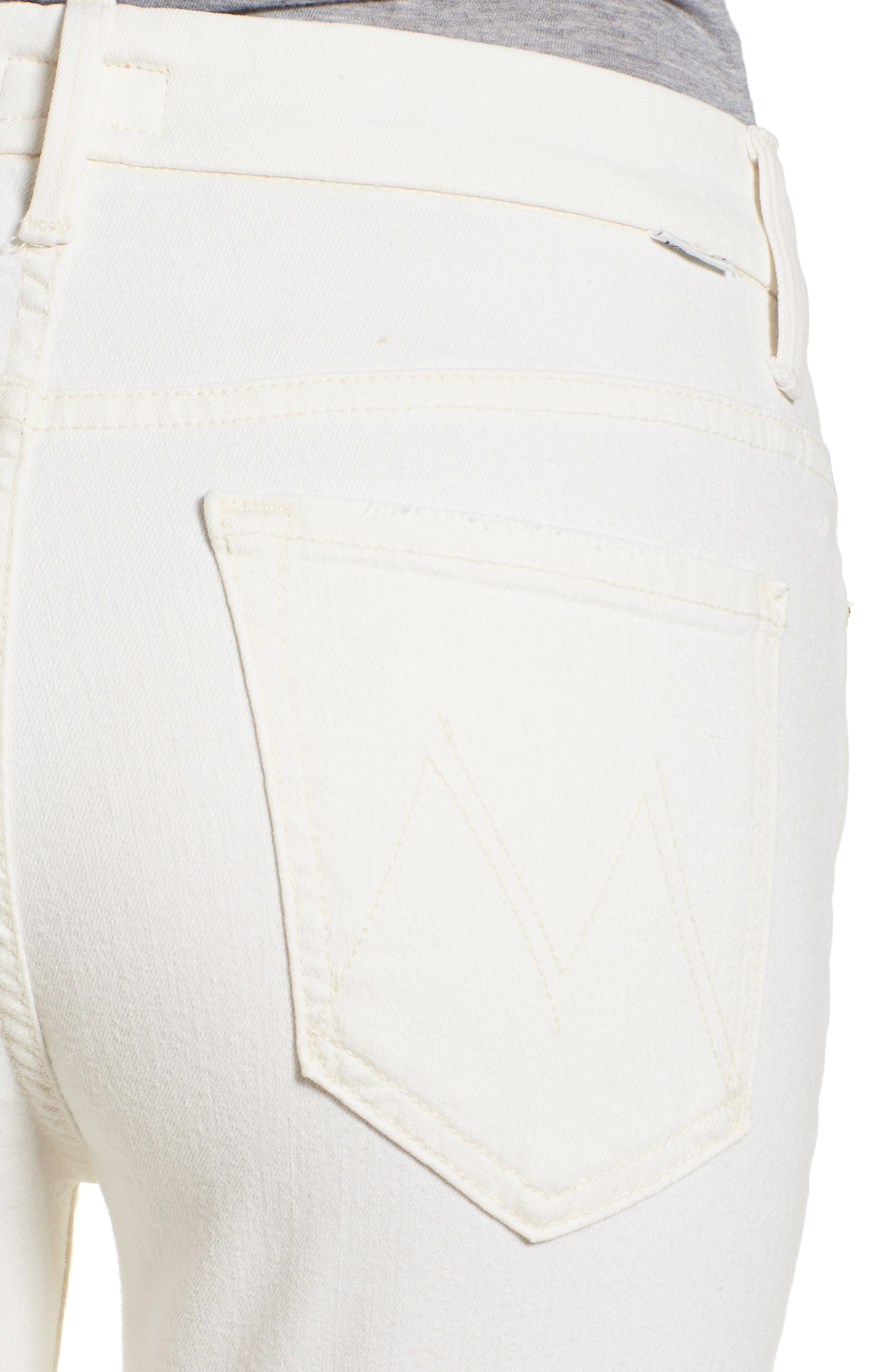 The Looker High Waist Fray Ankle Skinny Jeans,                             Alternate thumbnail 4, color,                             Whipping The Cream