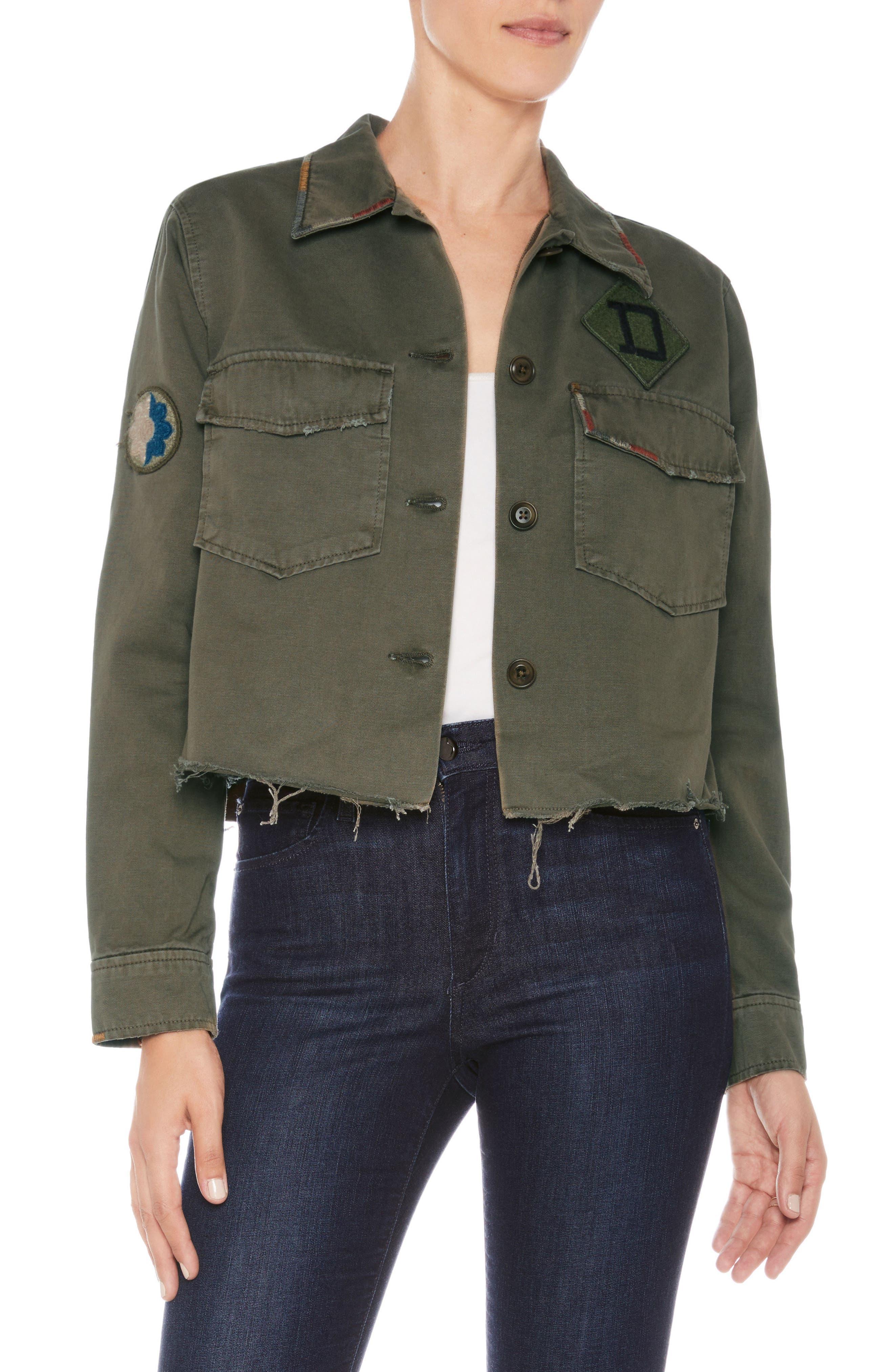 Marie Military Shirt Jacket,                             Main thumbnail 1, color,                             Earth Army