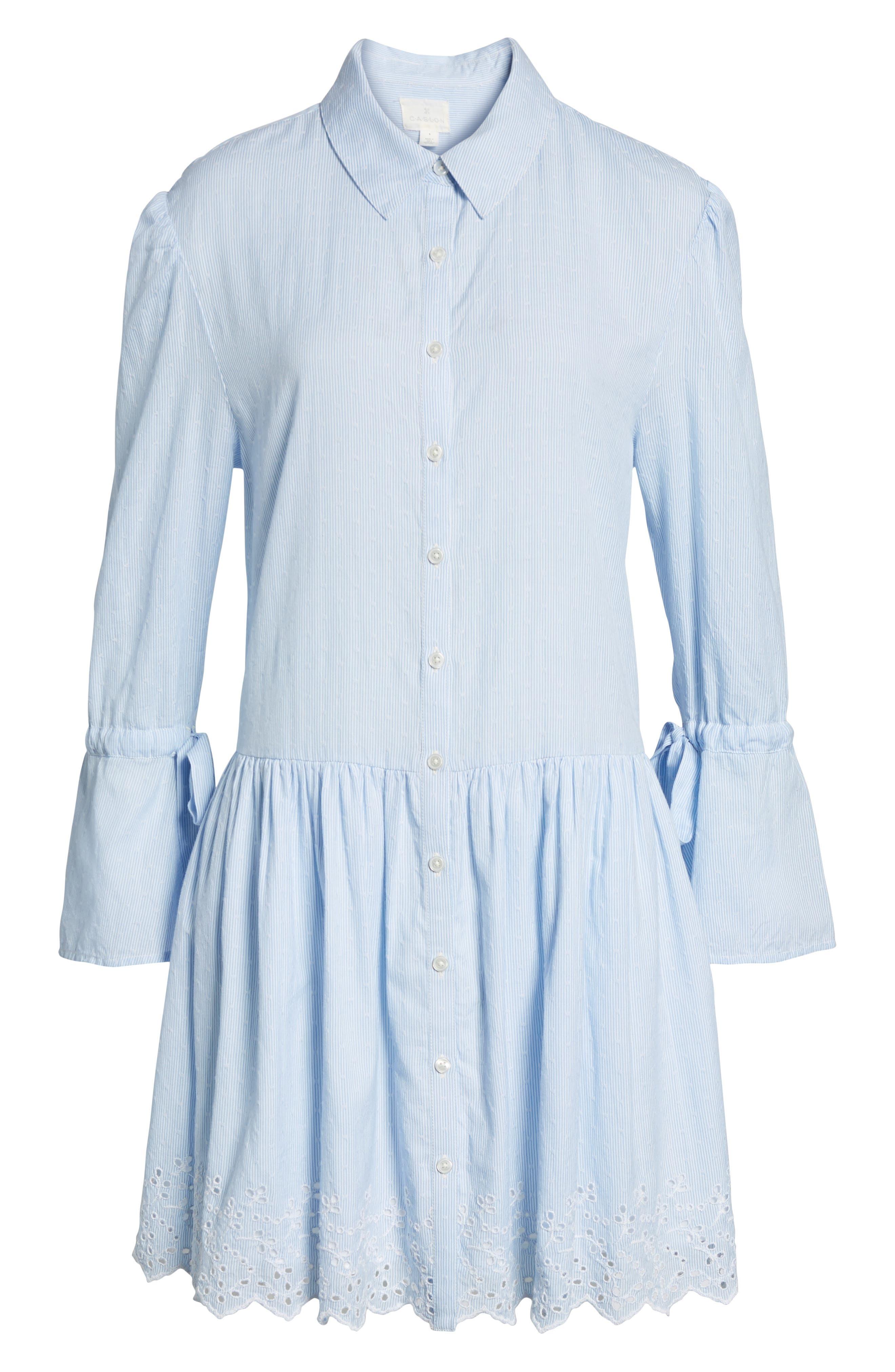Pinstripe Eyelet Trim Cotton Shirtdress,                             Alternate thumbnail 6, color,                             Blue- White Stripe