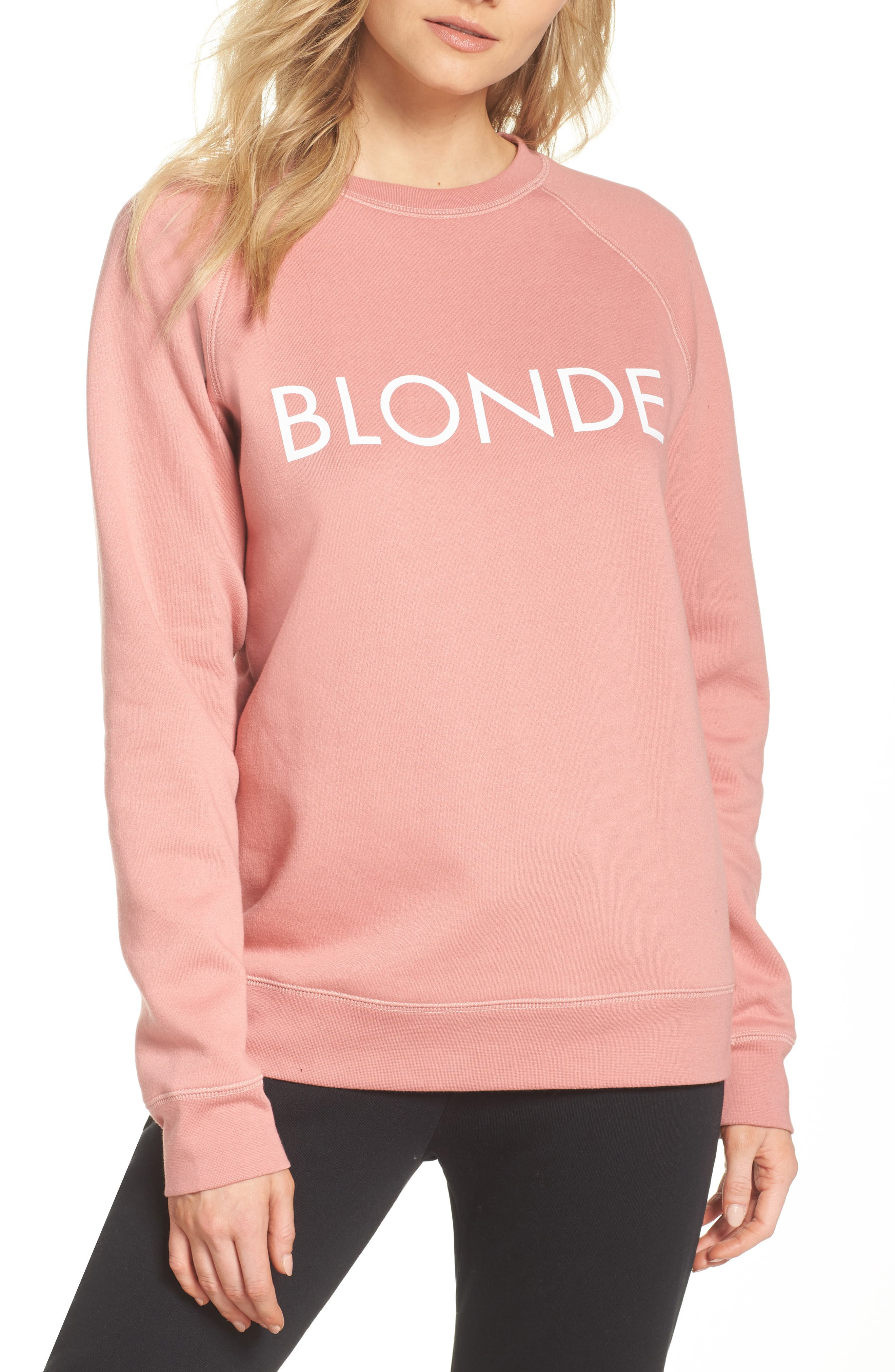 Blonde Crewneck Sweatshirt,                         Main,                         color, Dusty Rose