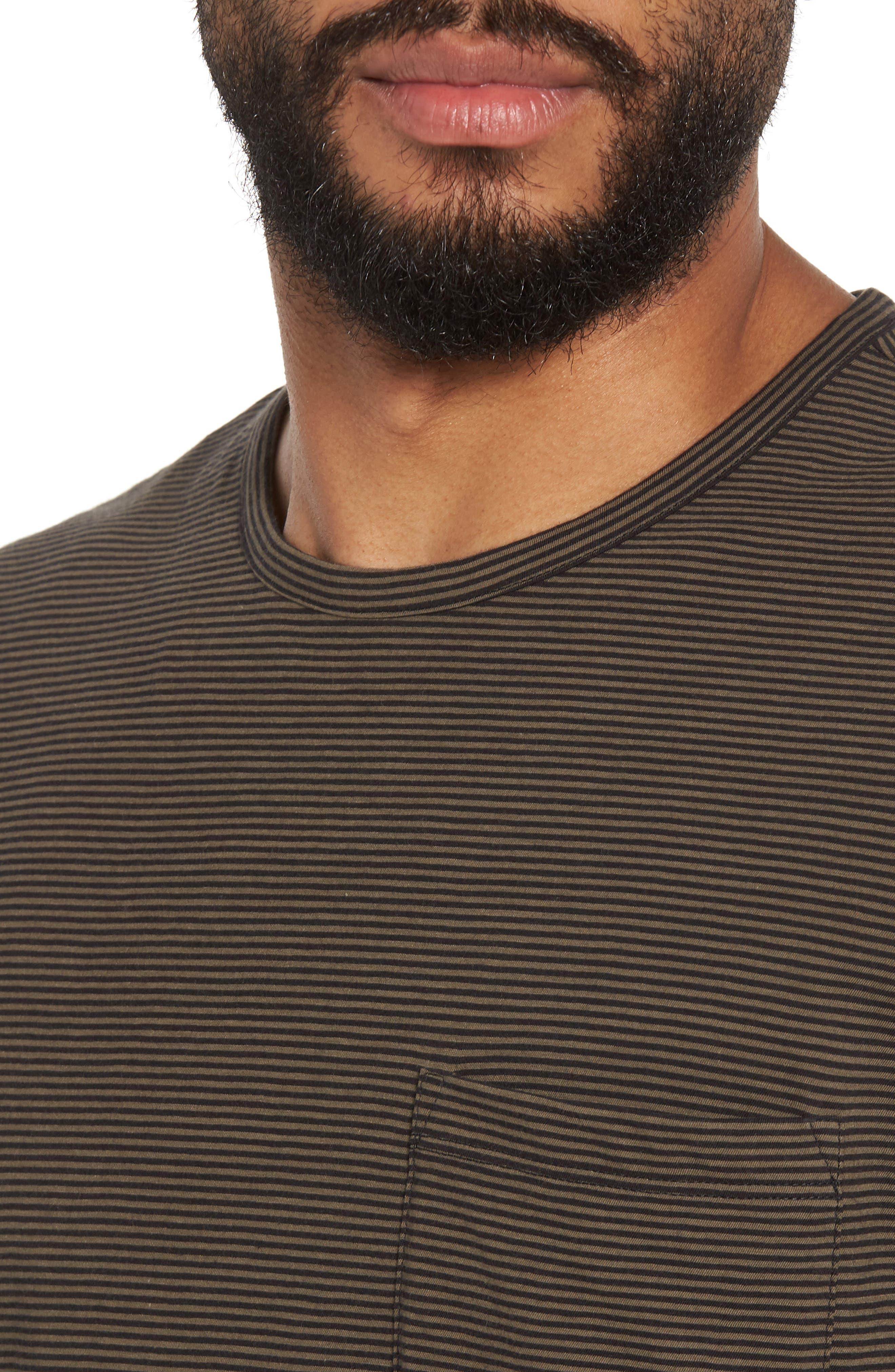 Slim Fit Stripe Pocket T-Shirt,                             Alternate thumbnail 4, color,                             Black/ Camp Green