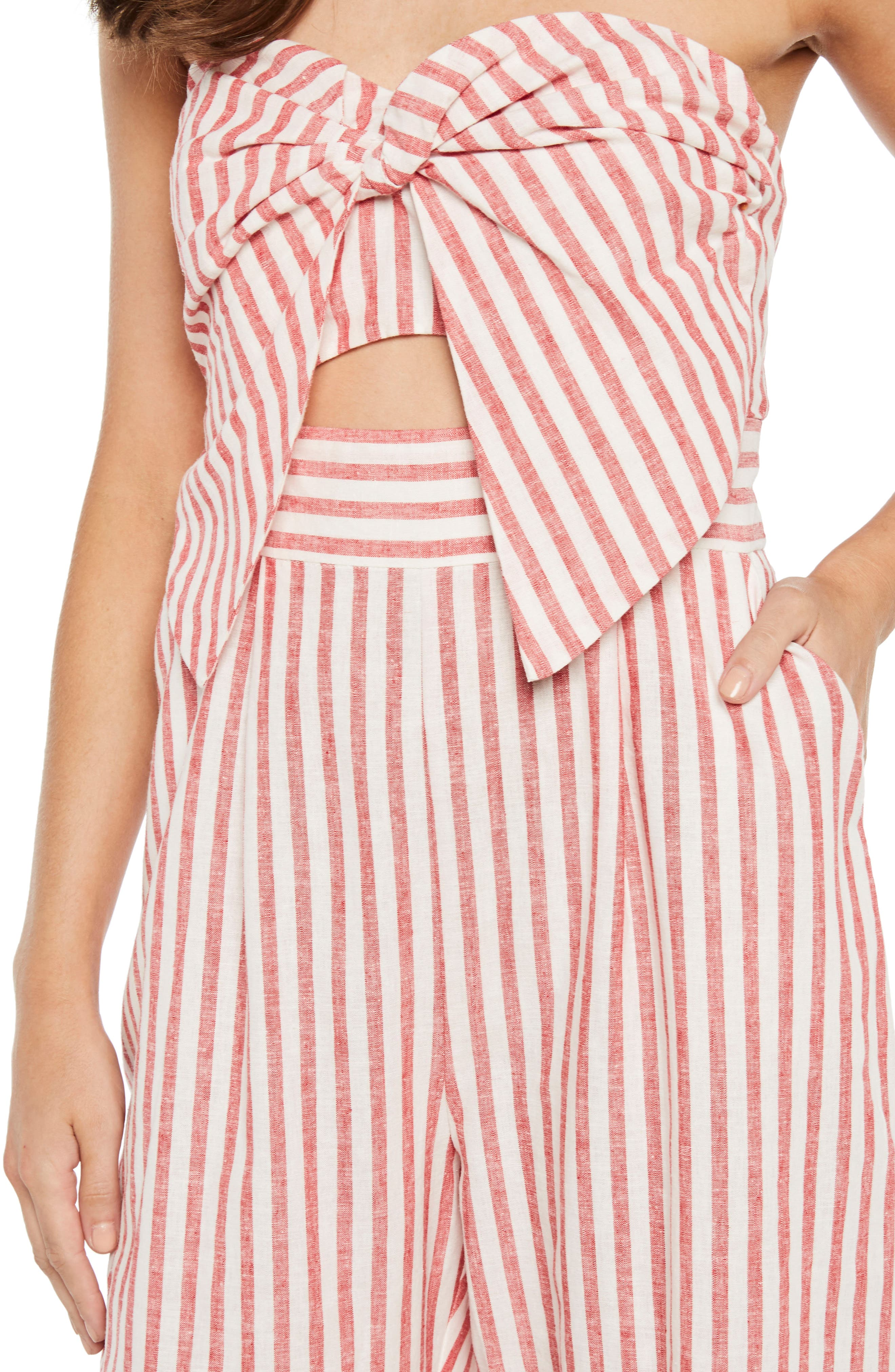 Stripe Strapless Jumpsuit,                             Alternate thumbnail 5, color,                             Red Stripe