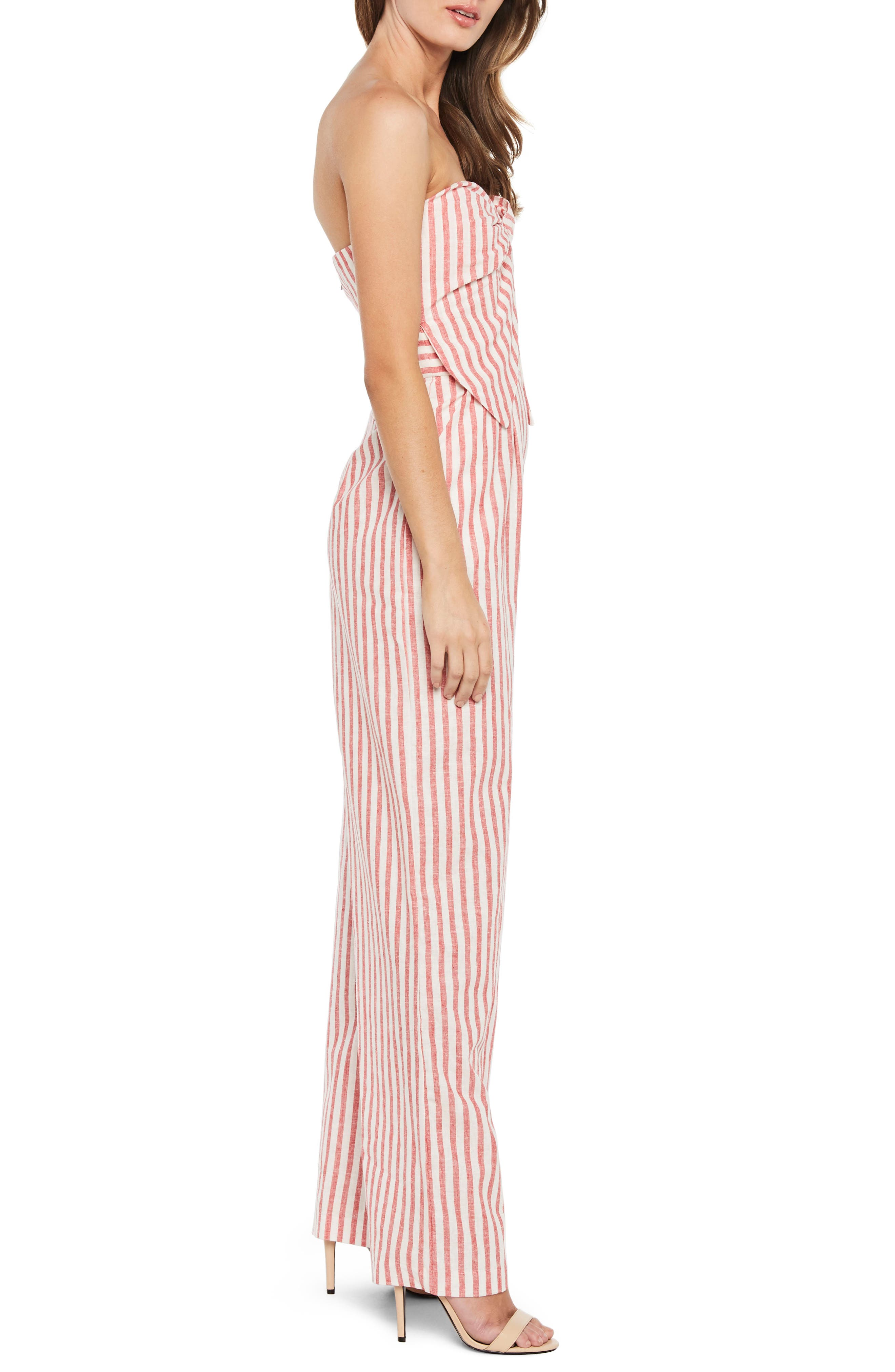 Stripe Strapless Jumpsuit,                             Alternate thumbnail 3, color,                             Red Stripe