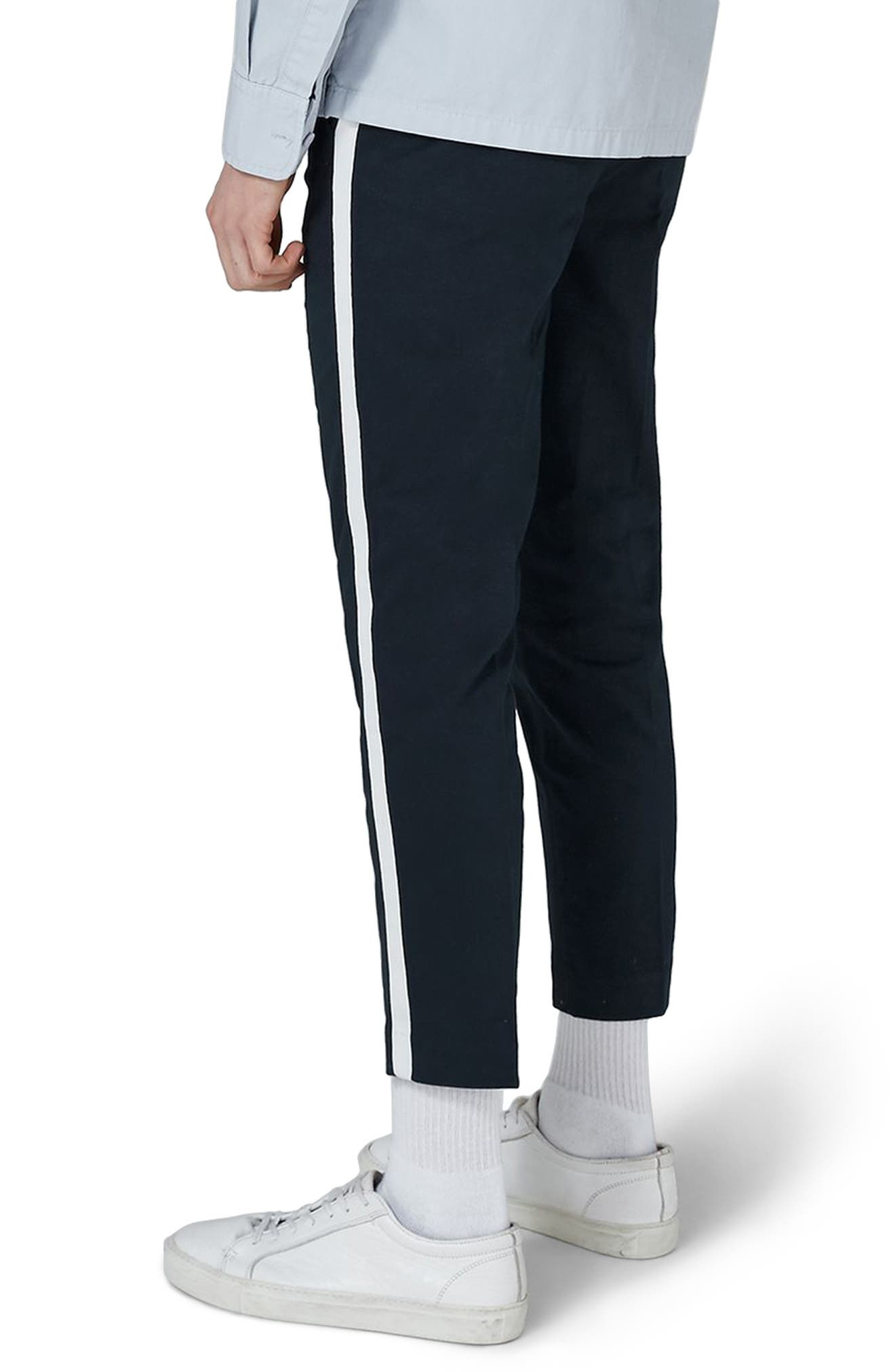 Skinny Fit Cropped Twill Trousers,                             Alternate thumbnail 2, color,                             Dark Blue Multi