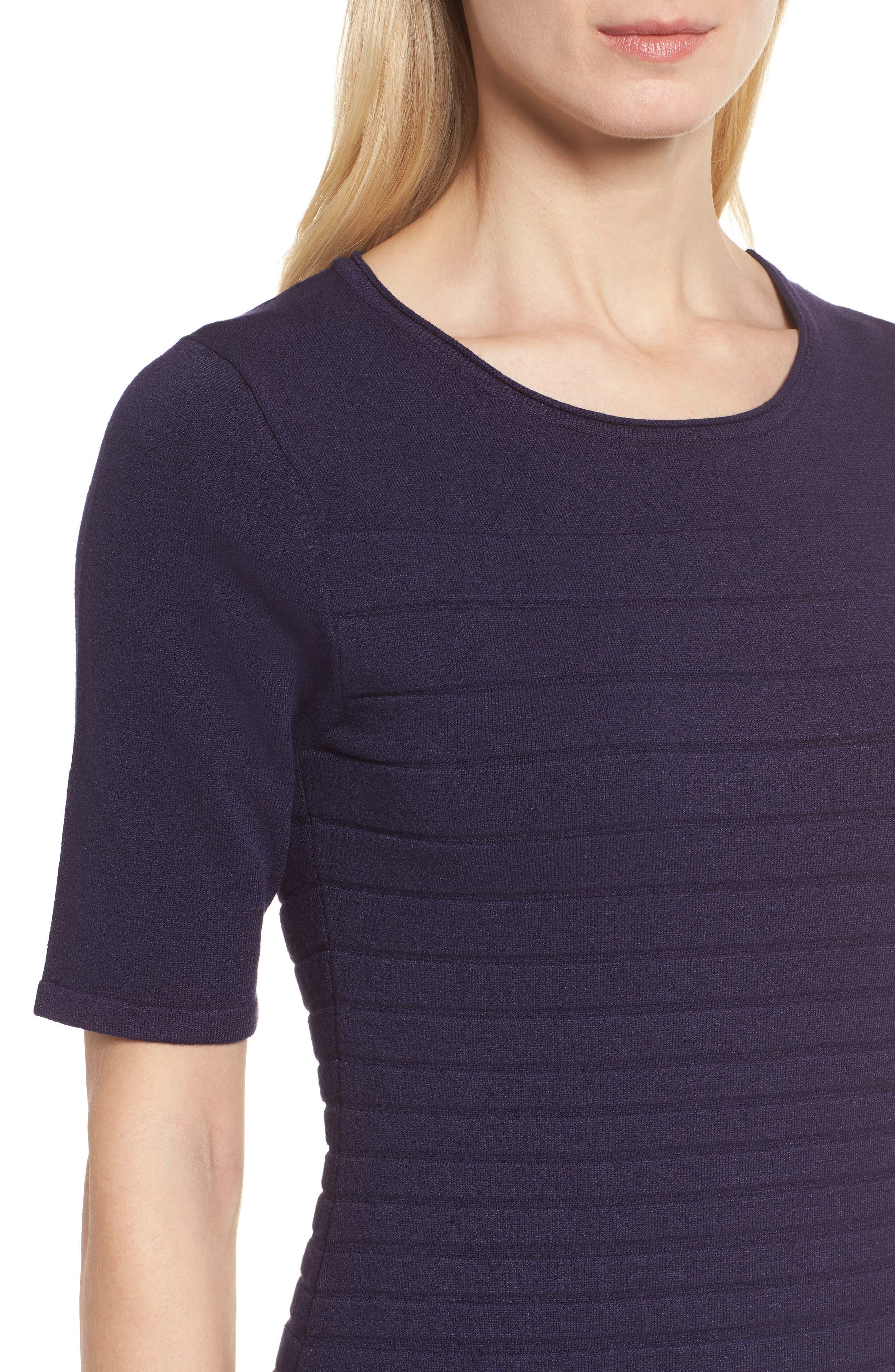 Textured Stripe Knit Dress,                             Alternate thumbnail 4, color,                             Monaco