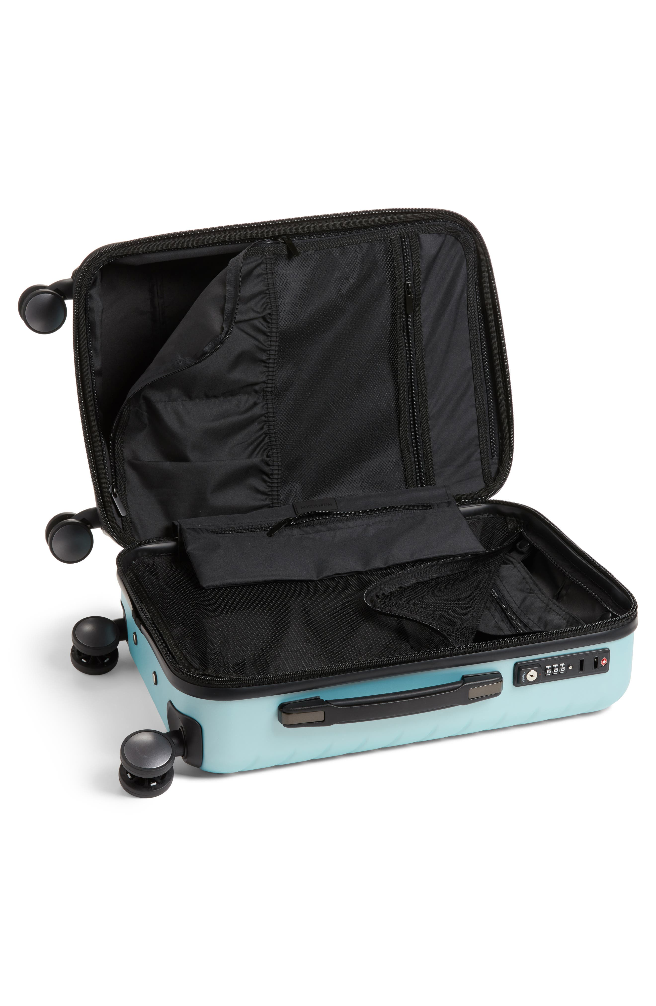 Chevron 20-Inch Spinner Carry-On,                             Alternate thumbnail 2, color,                             Teal Surf