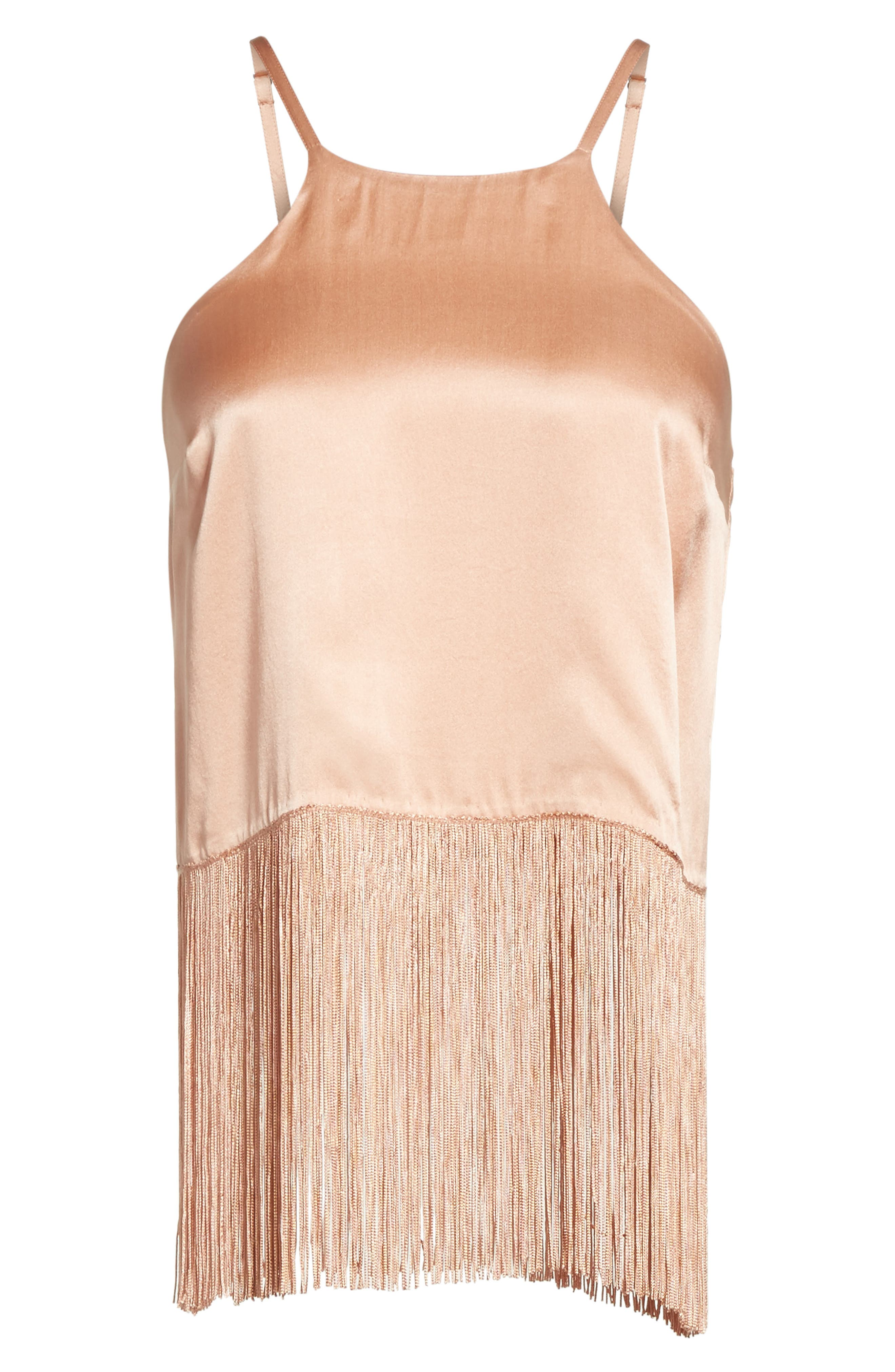 Fringe Halter Silk Tank,                             Alternate thumbnail 6, color,                             Cosmetic Pink