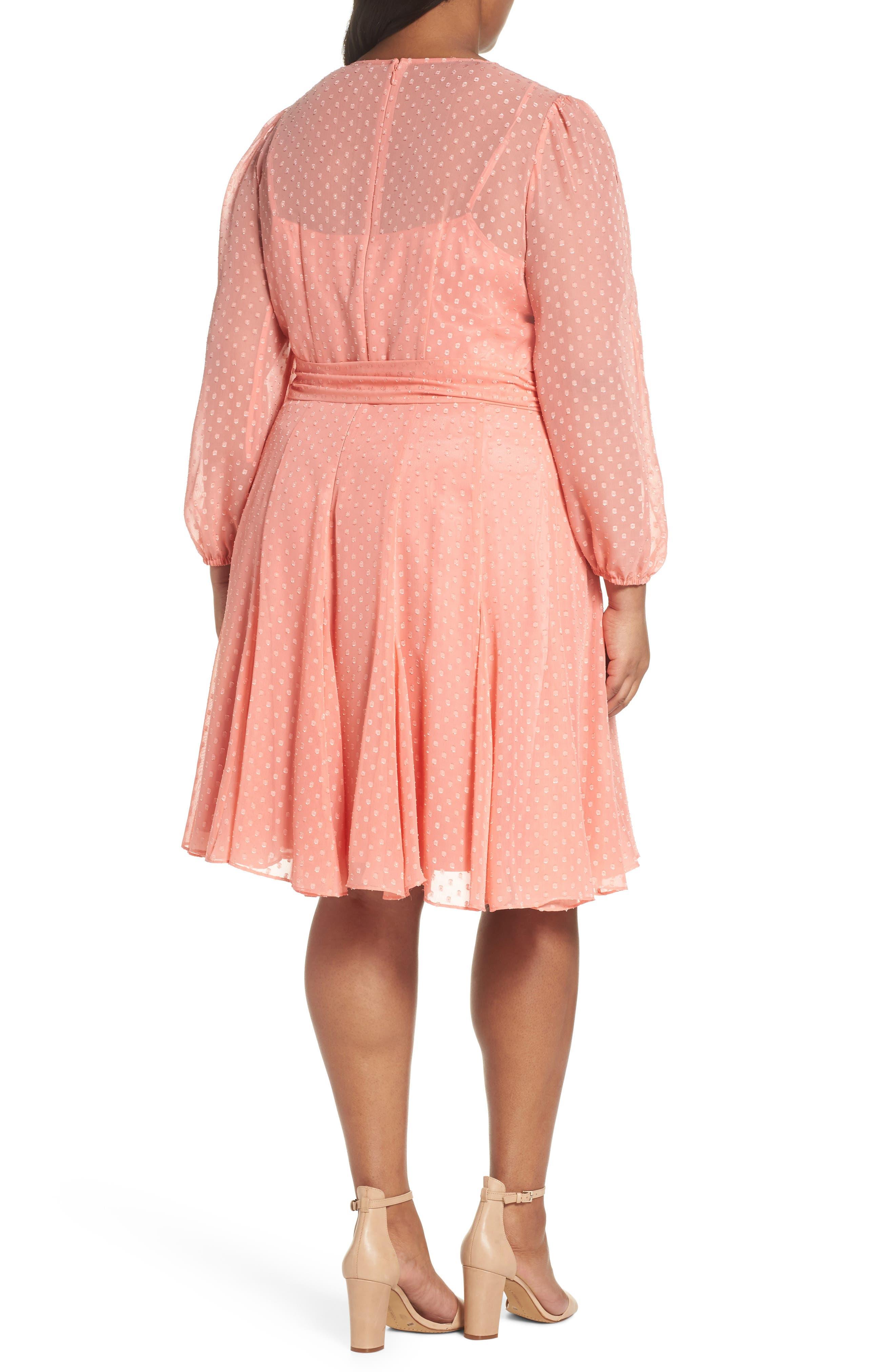 Split Sleeve Swiss Dot Chiffon Faux Wrap Dress,                             Alternate thumbnail 3, color,                             Soft Coral