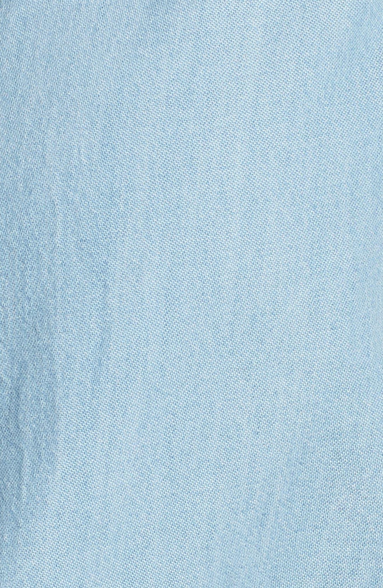 Chambray Western Shirt,                             Alternate thumbnail 6, color,                             Light Wash