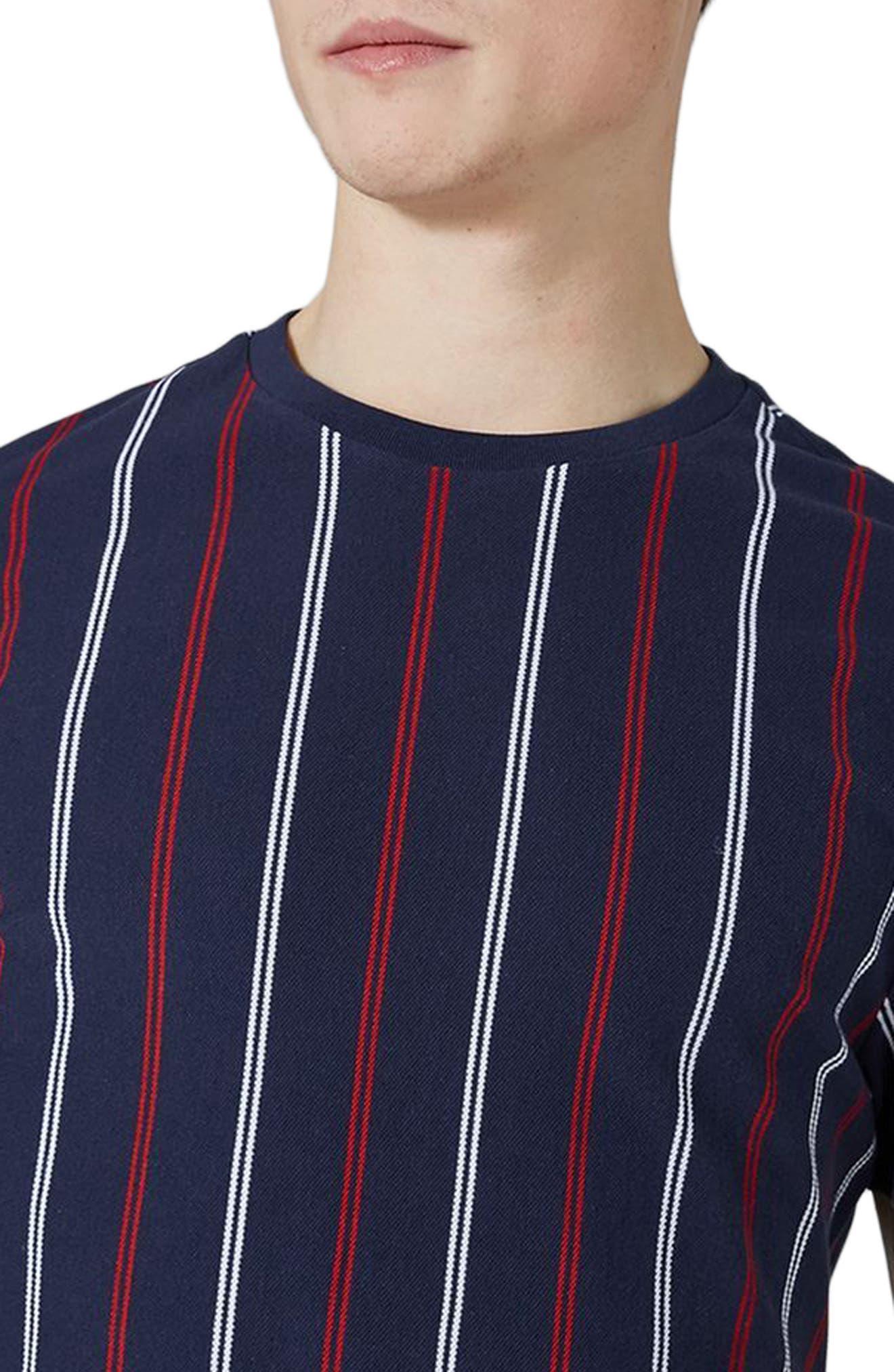 Slim Fit Vertical Striped T-Shirt,                             Alternate thumbnail 3, color,                             Dark Blue Multi