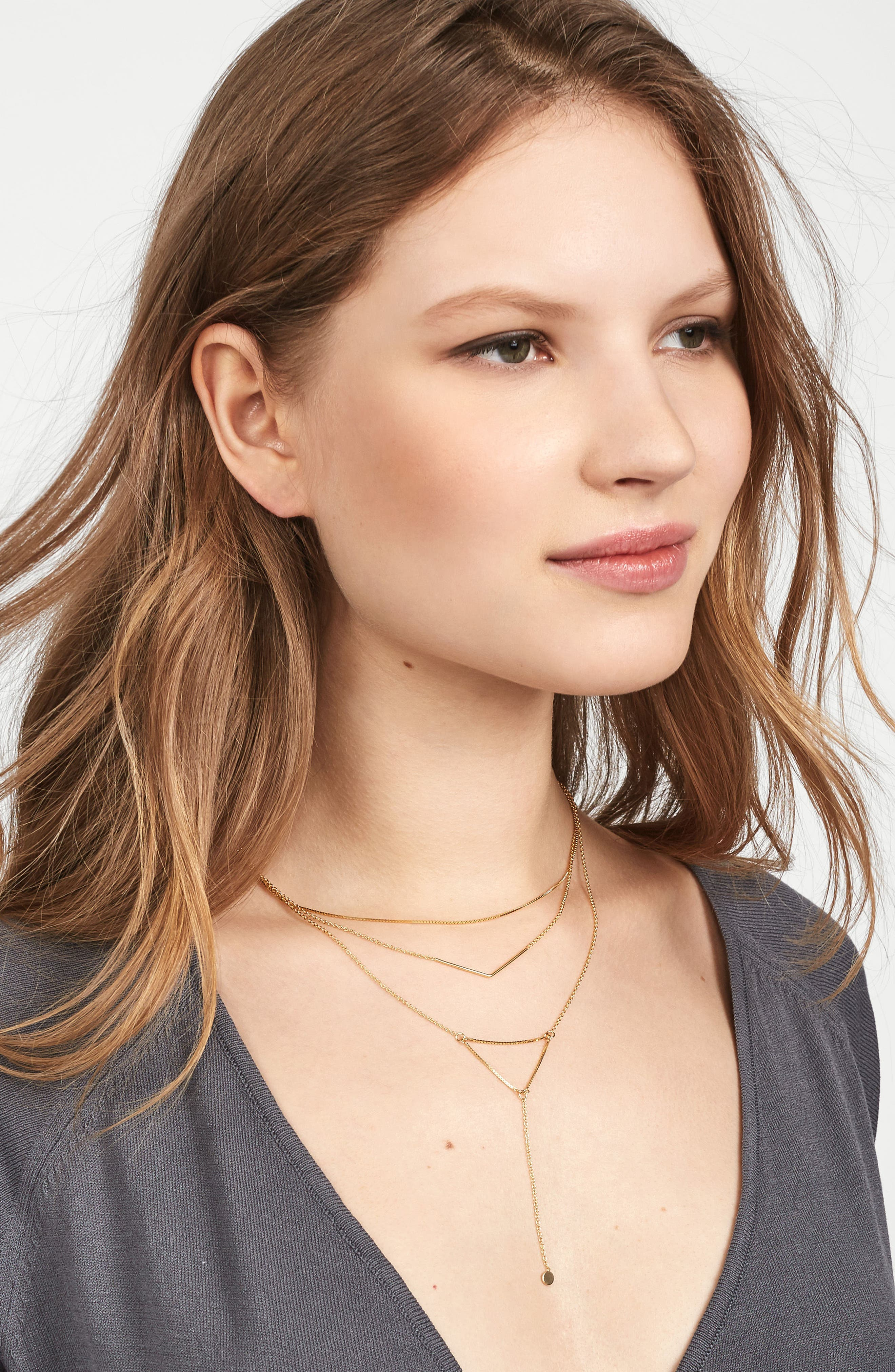 Tris Everyday Connected Y 18-Karat Gold Plate Necklace,                             Alternate thumbnail 3, color,                             Gold