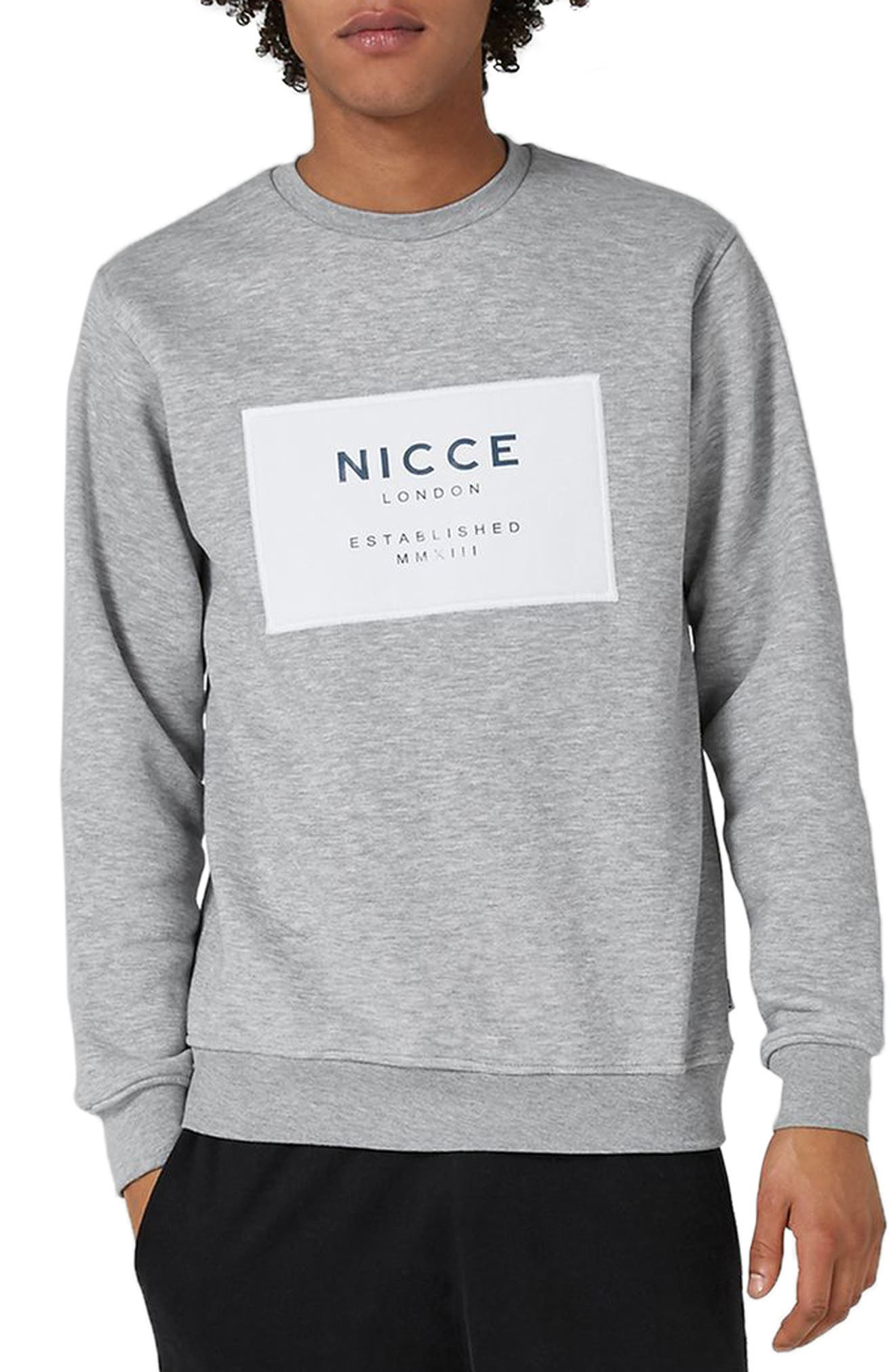 NICCE Logo Patch Sweatshirt,                             Main thumbnail 1, color,                             Grey Multi
