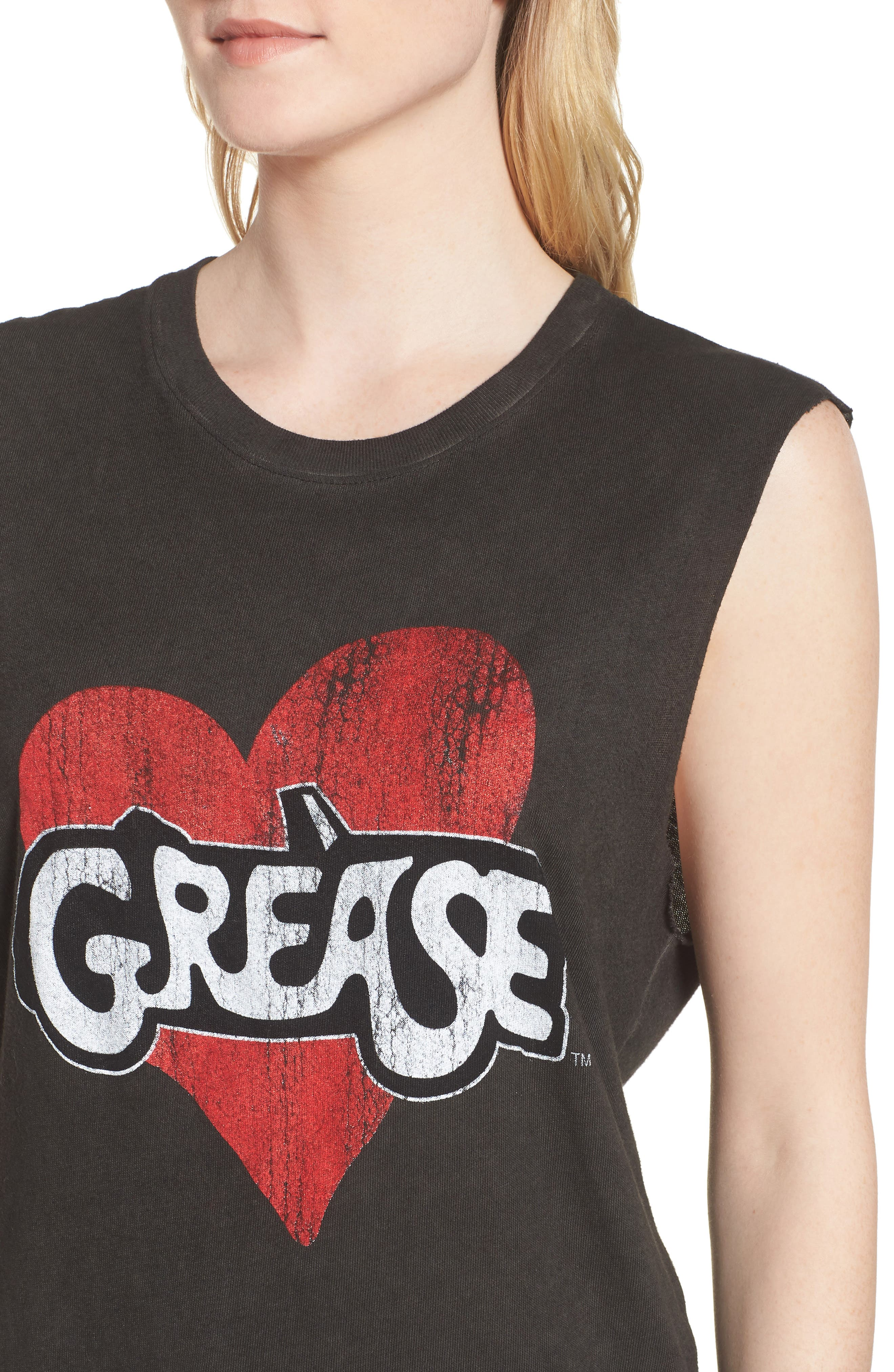 x Grease Muscle Tee,                             Alternate thumbnail 4, color,                             Vintage Black