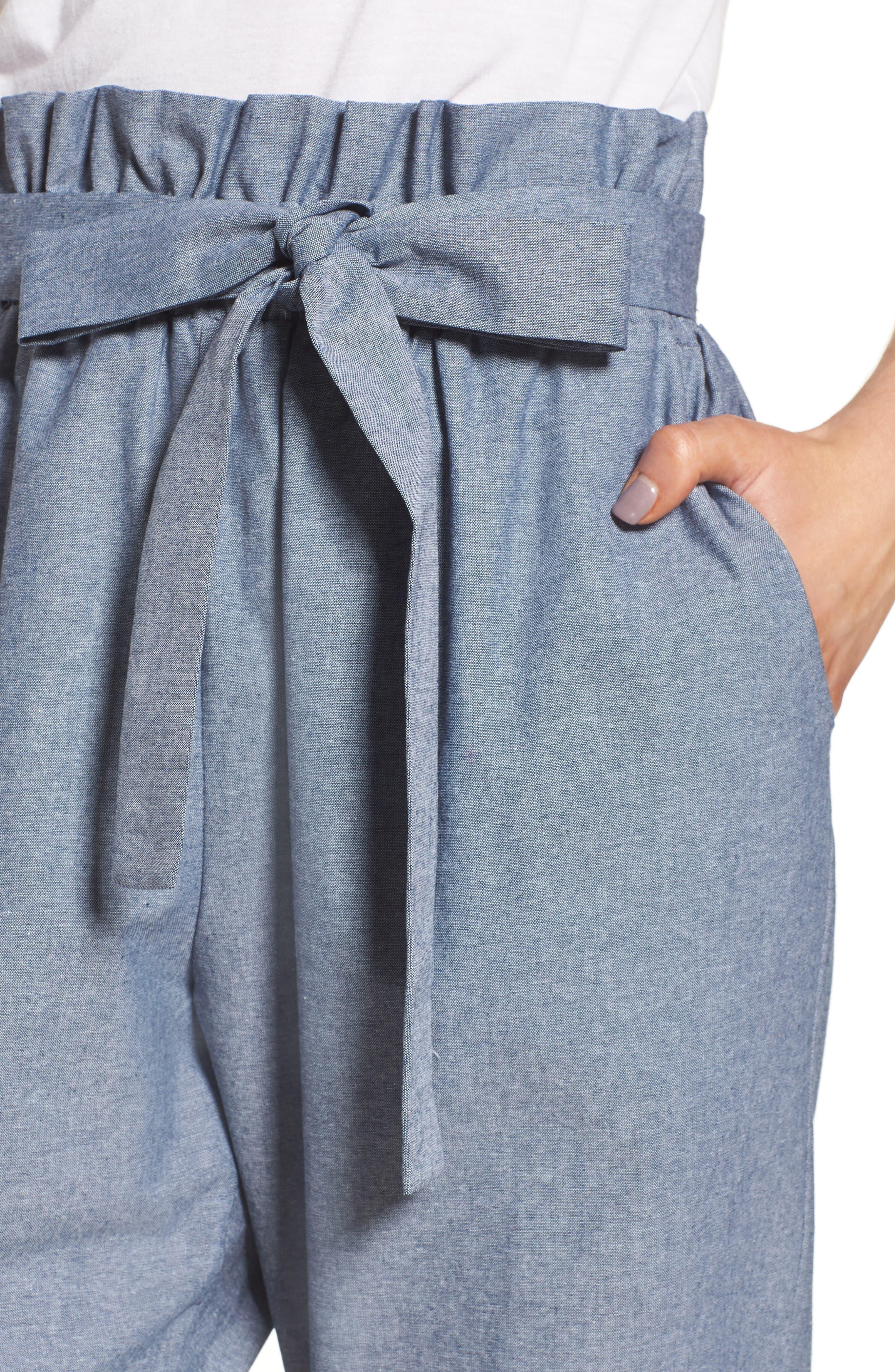 Paperbag Waist Pants,                             Alternate thumbnail 4, color,                             Navy Peacoat