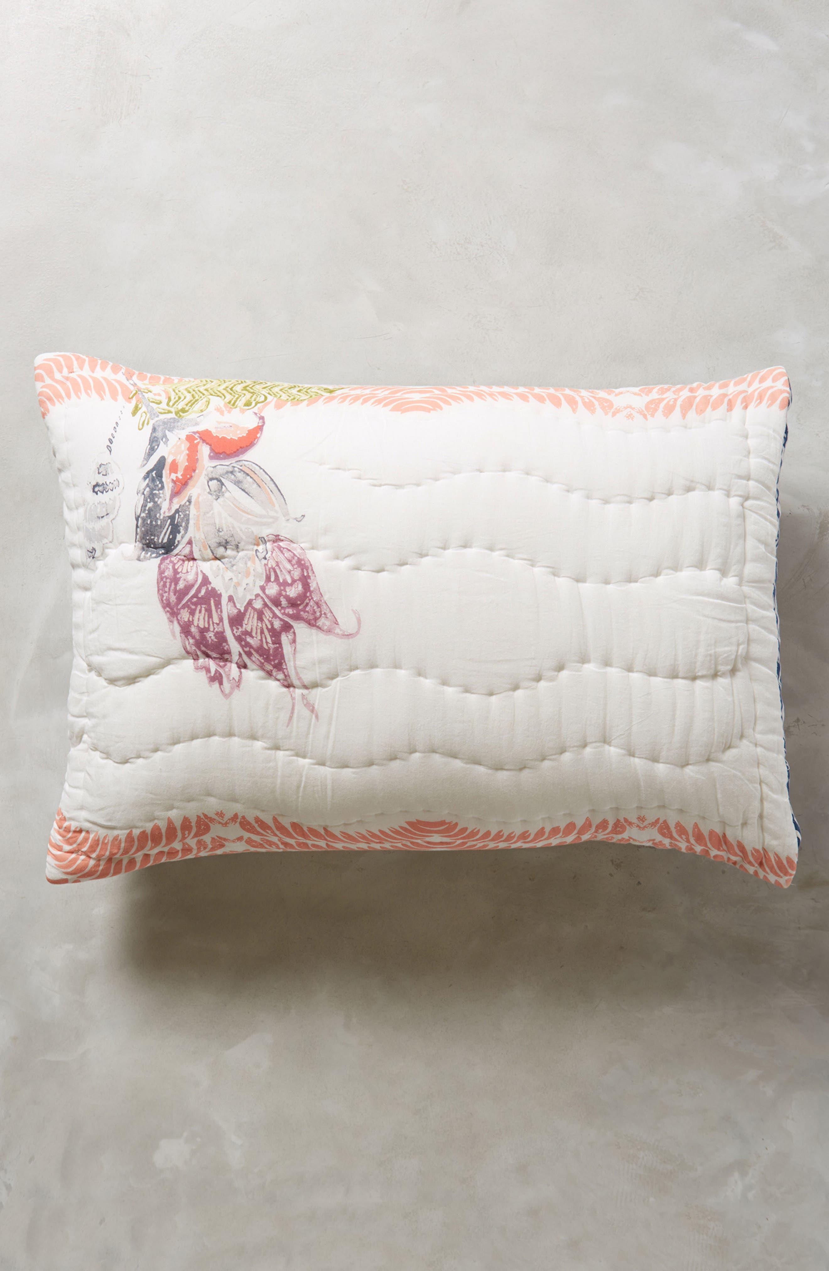 Woodblock Floral Pillow Shams,                             Main thumbnail 1, color,                             White Multi