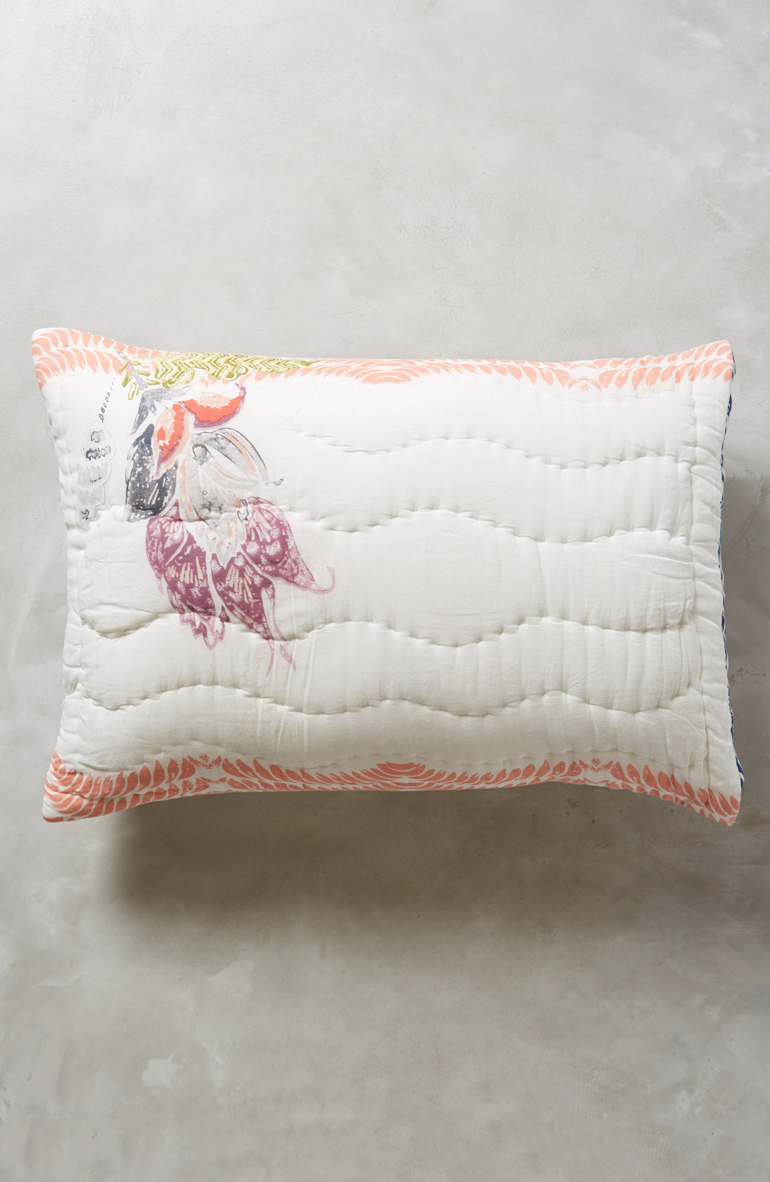 Woodblock Floral Pillow Shams,                         Main,                         color, White Multi