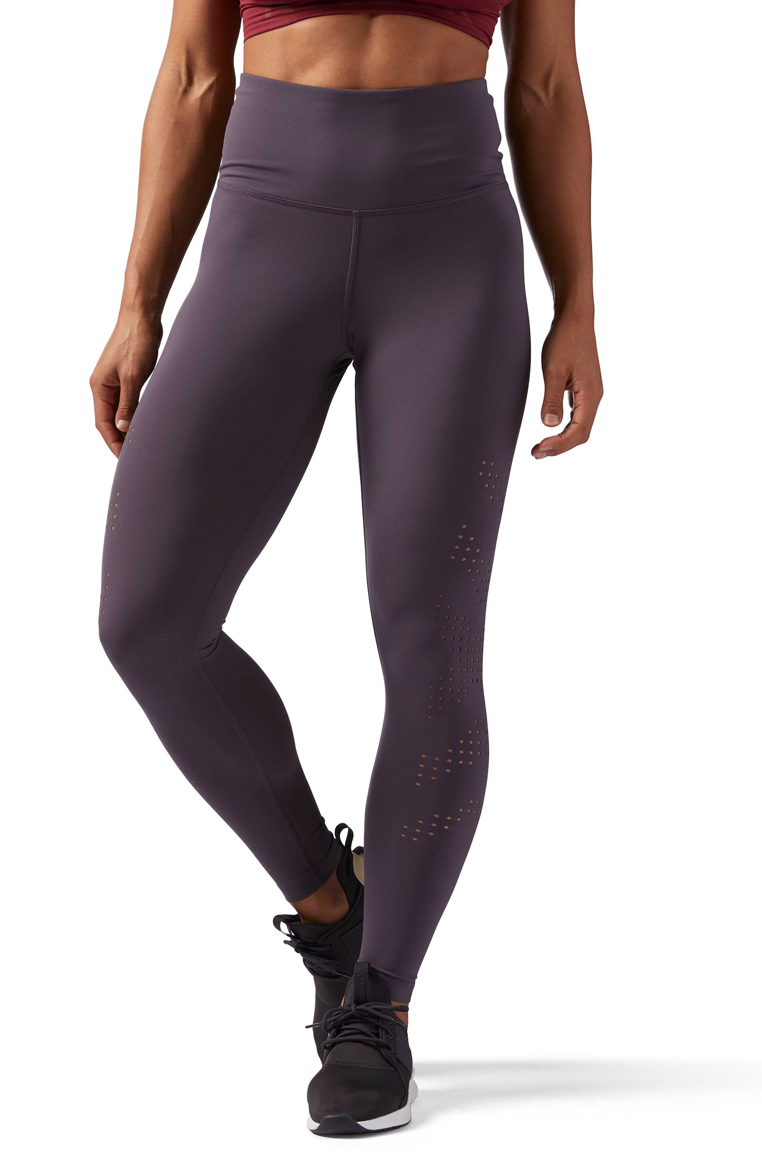 Perforated High Waist Leggings by Reebok
