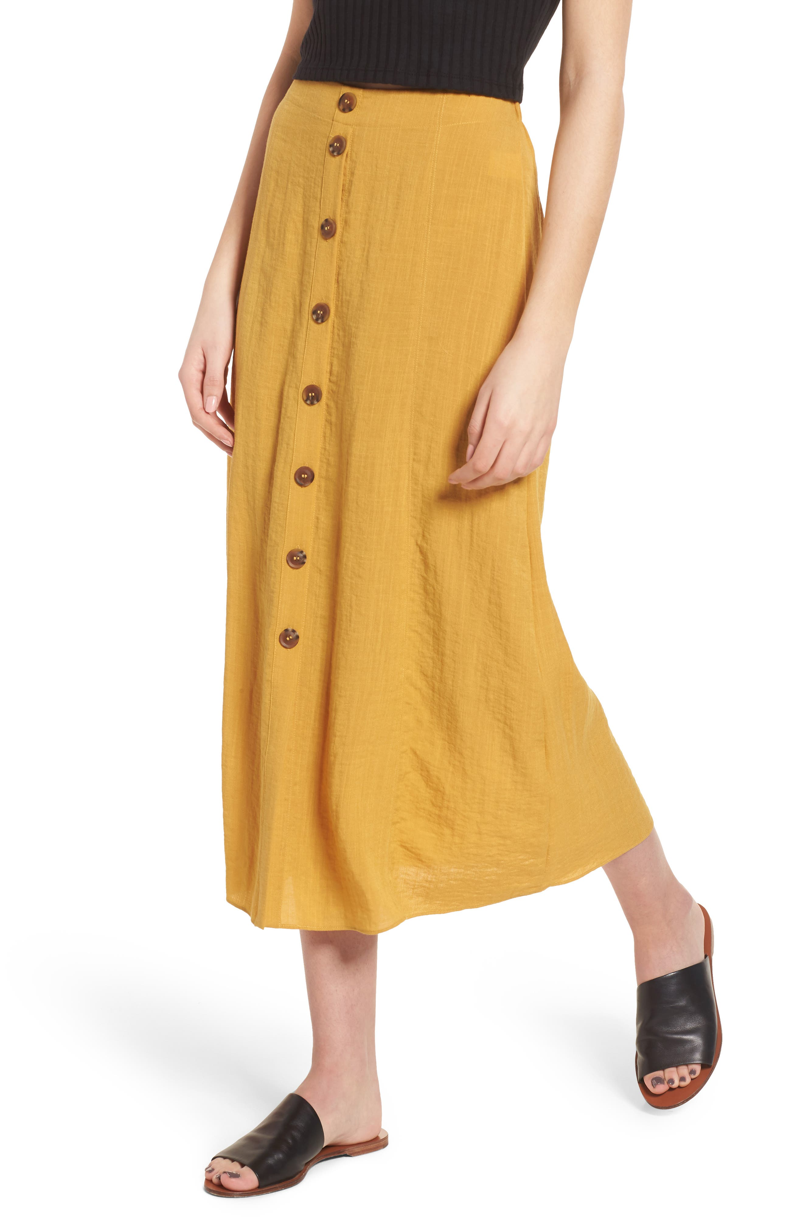 Button Front Midi Skirt,                             Main thumbnail 1, color,                             Mustard