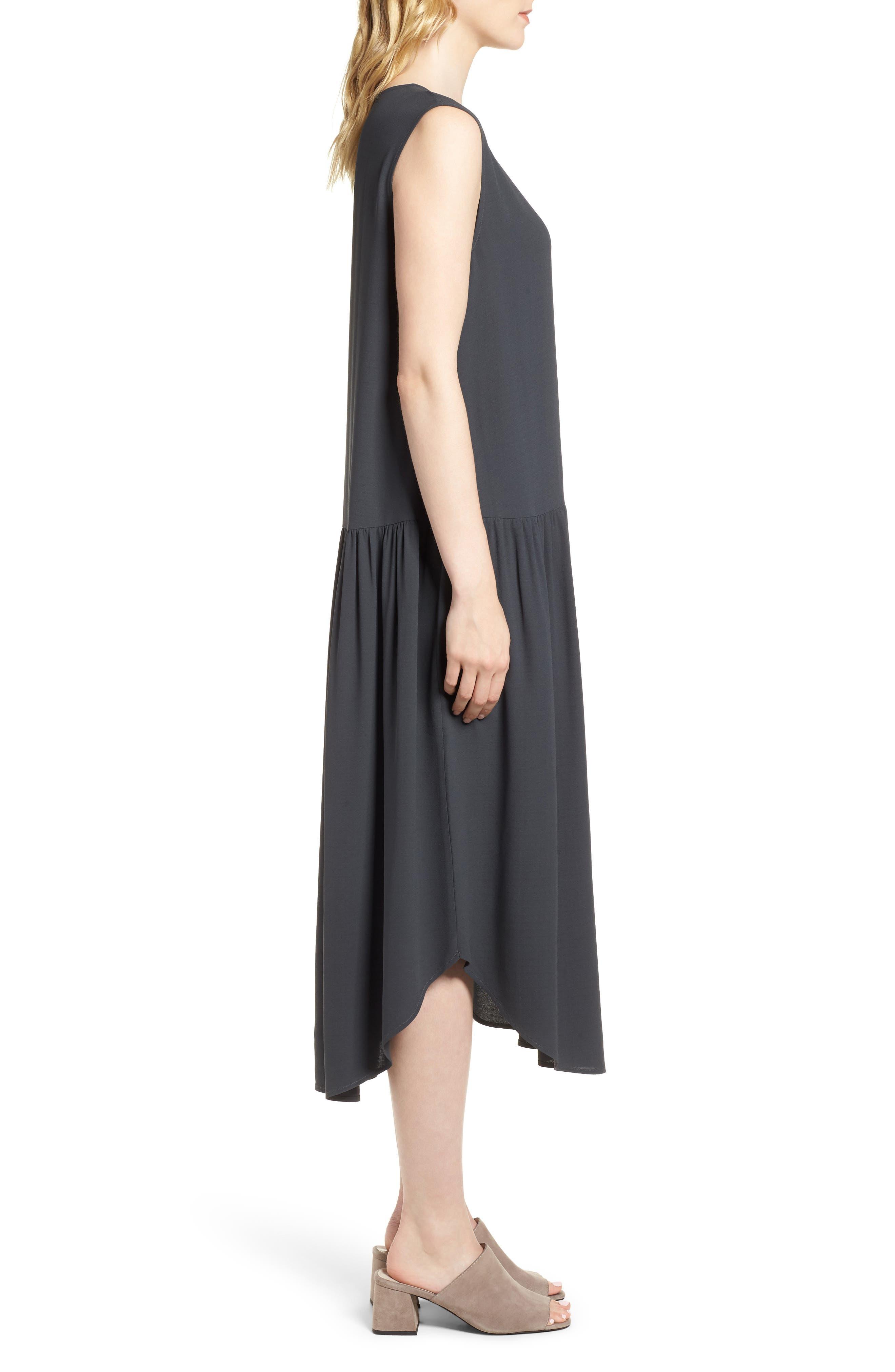 Alternate Image 3  - Eileen Fisher Drop Waist Silk Midi Dress