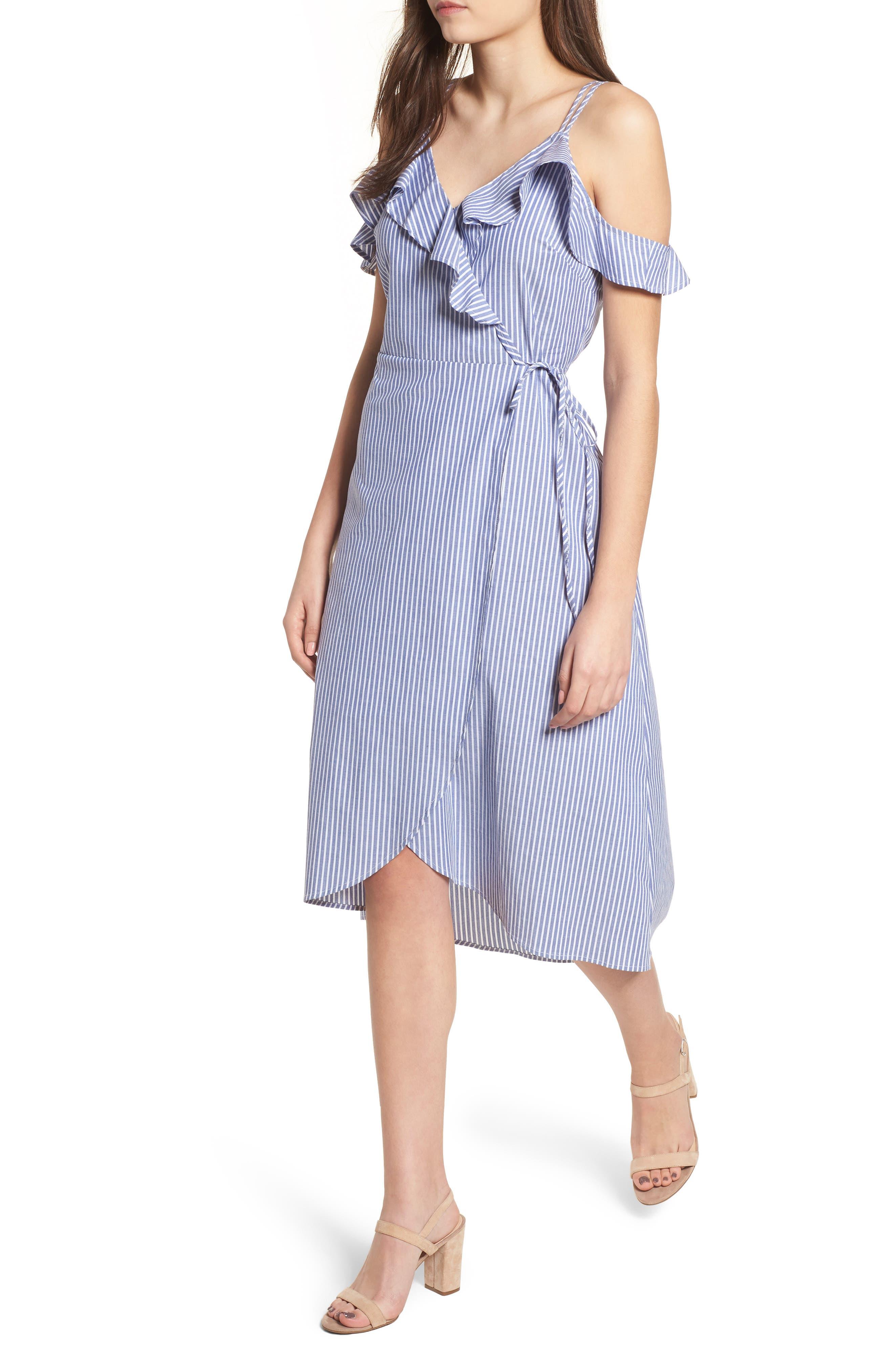 BP. Stripe Ruffle Wrap Dress