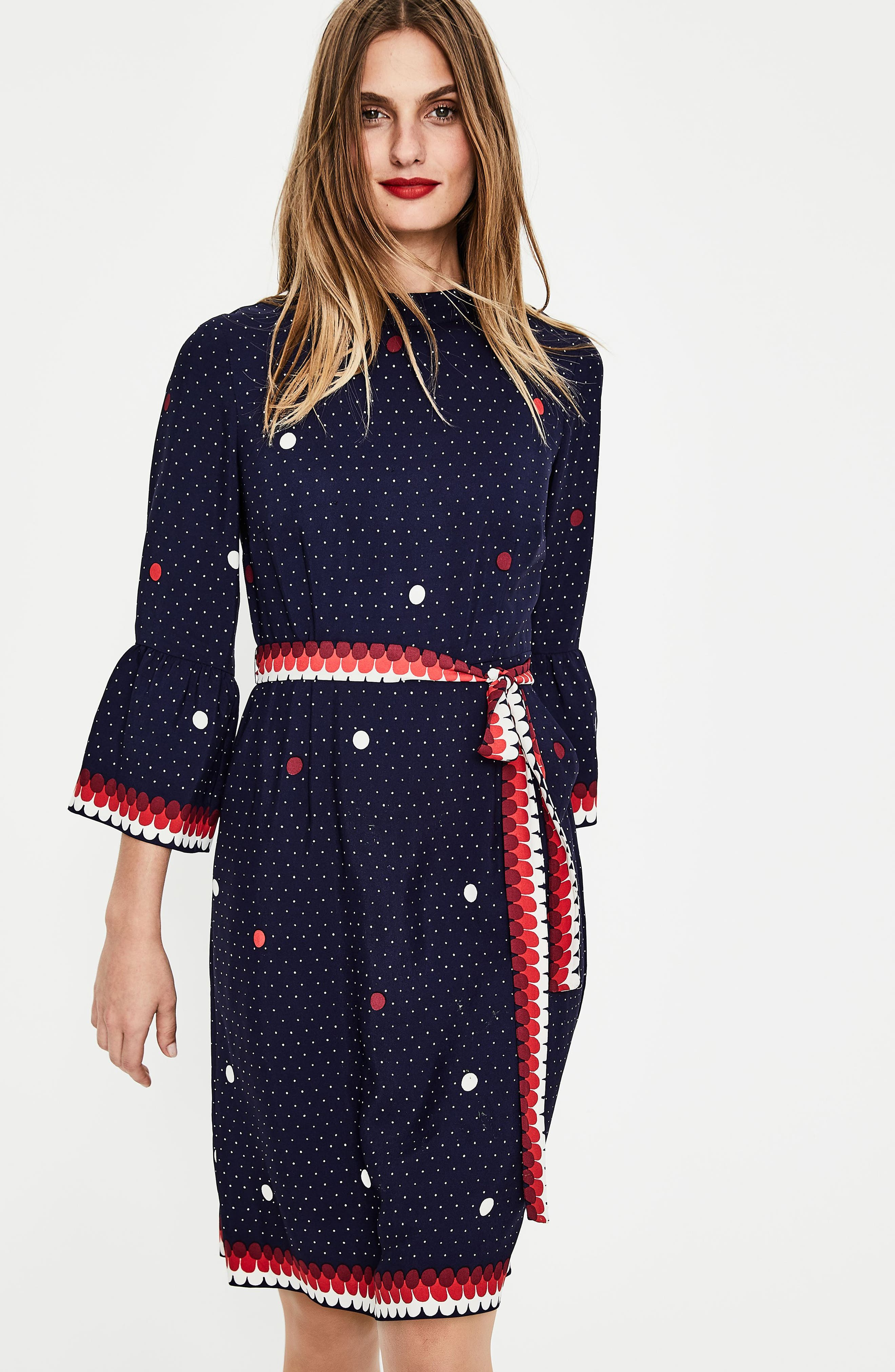 Ruffle Sleeve Polka Dot DRess,                             Alternate thumbnail 2, color,                             Navy/ Spot Border