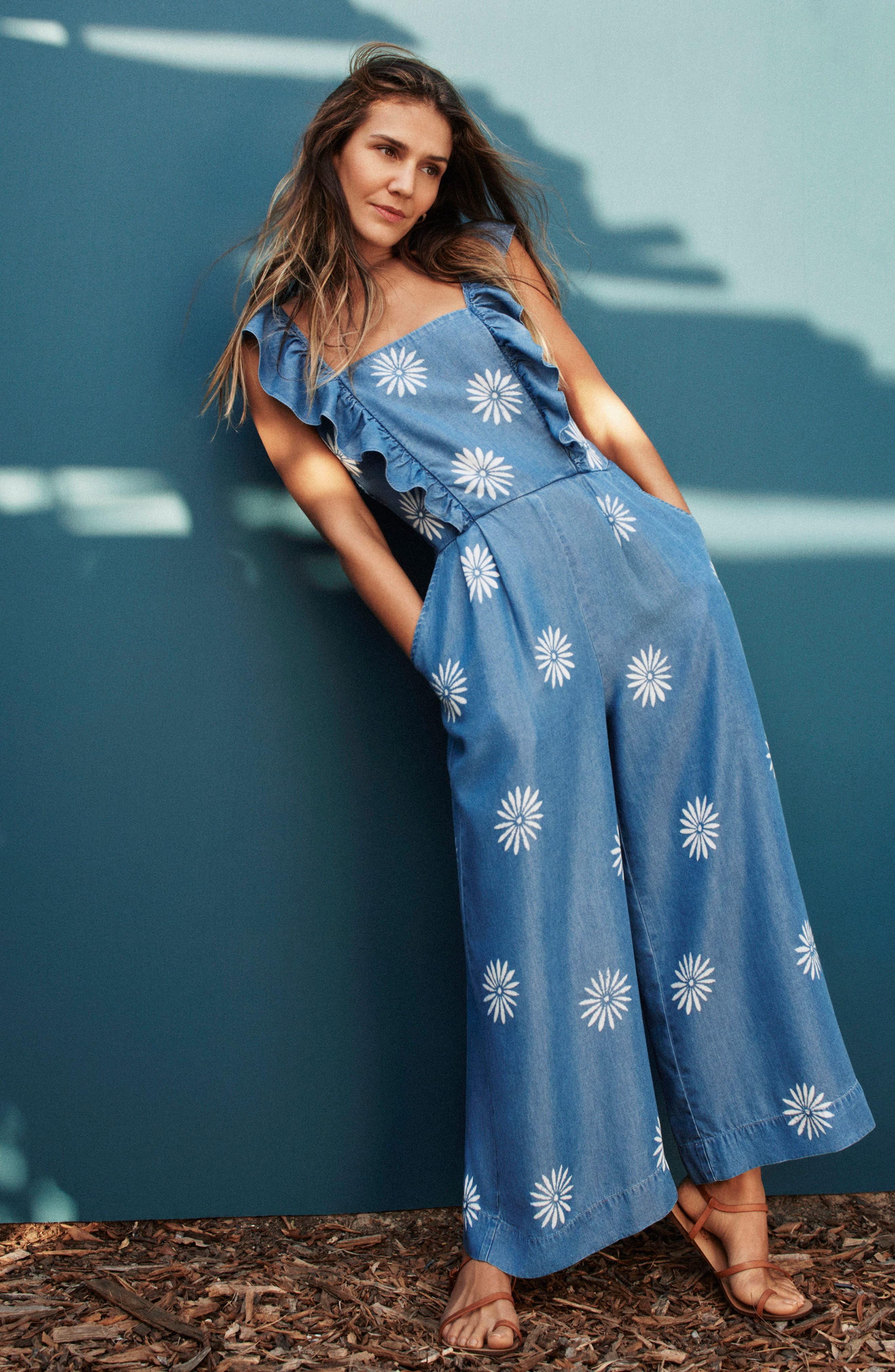 x Margherita Dolce Daisy Jumpsuit,                             Alternate thumbnail 2, color,                             Med Wash