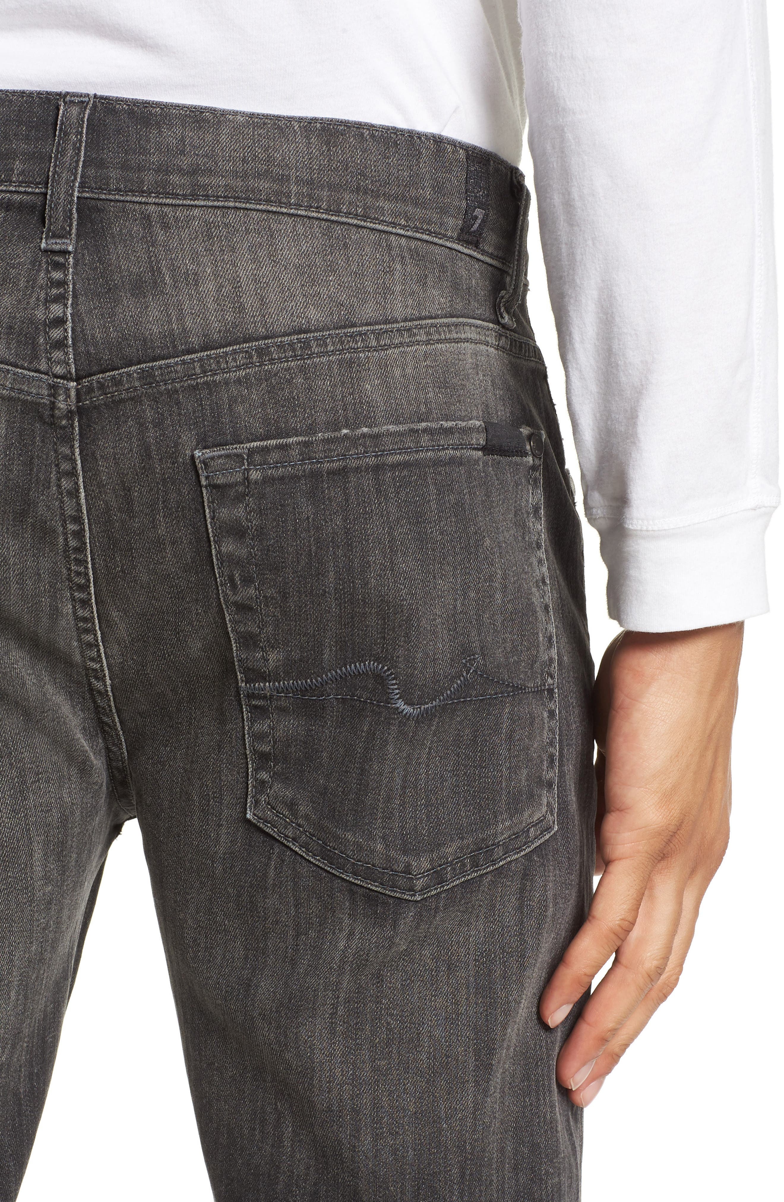 Alternate Image 4  - 7 For All Mankind® The Straight Slim Straight Leg Jeans (Halide Grey)