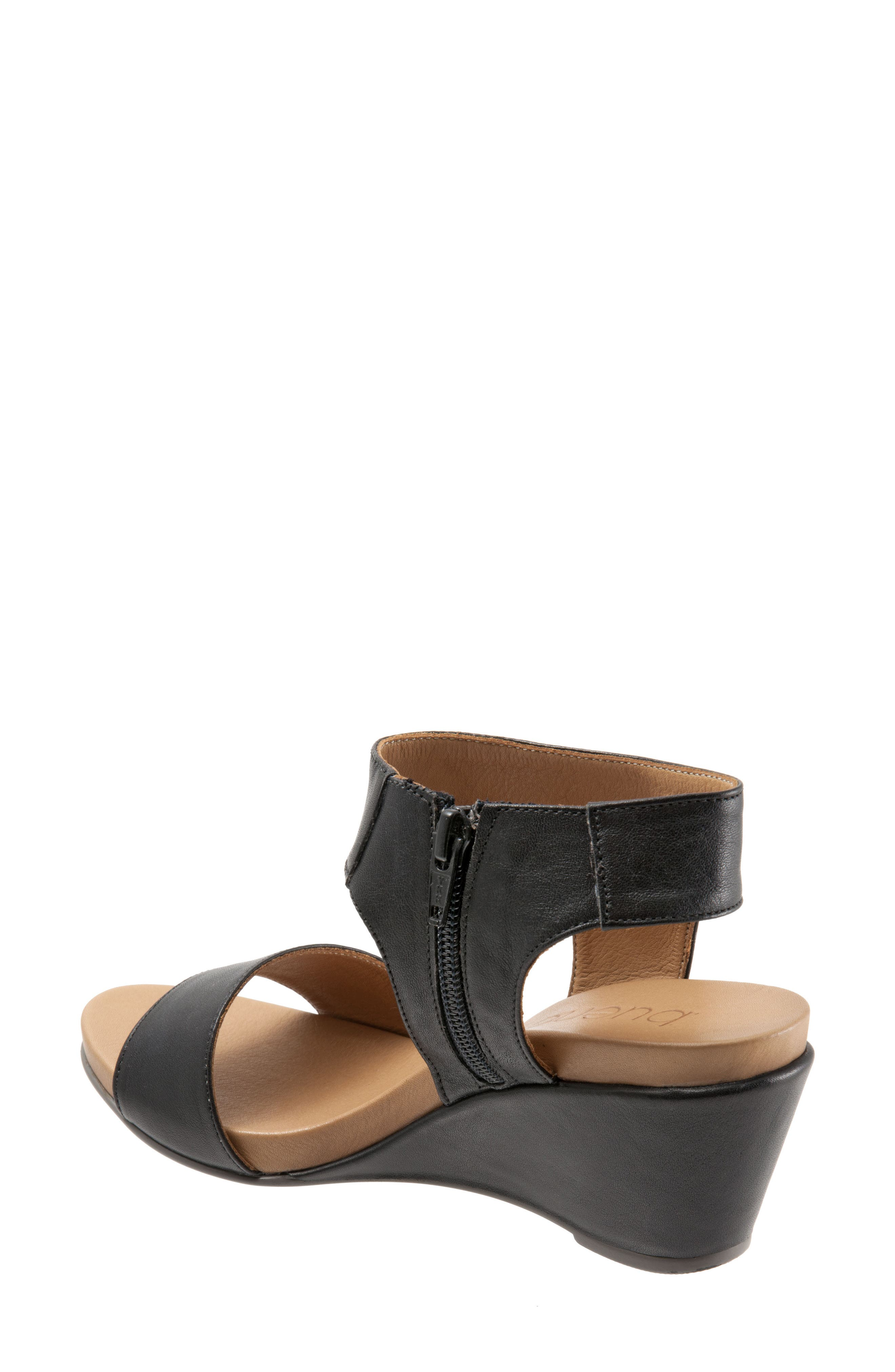 Ida Wedge Sandal,                             Alternate thumbnail 2, color,                             Black Leather