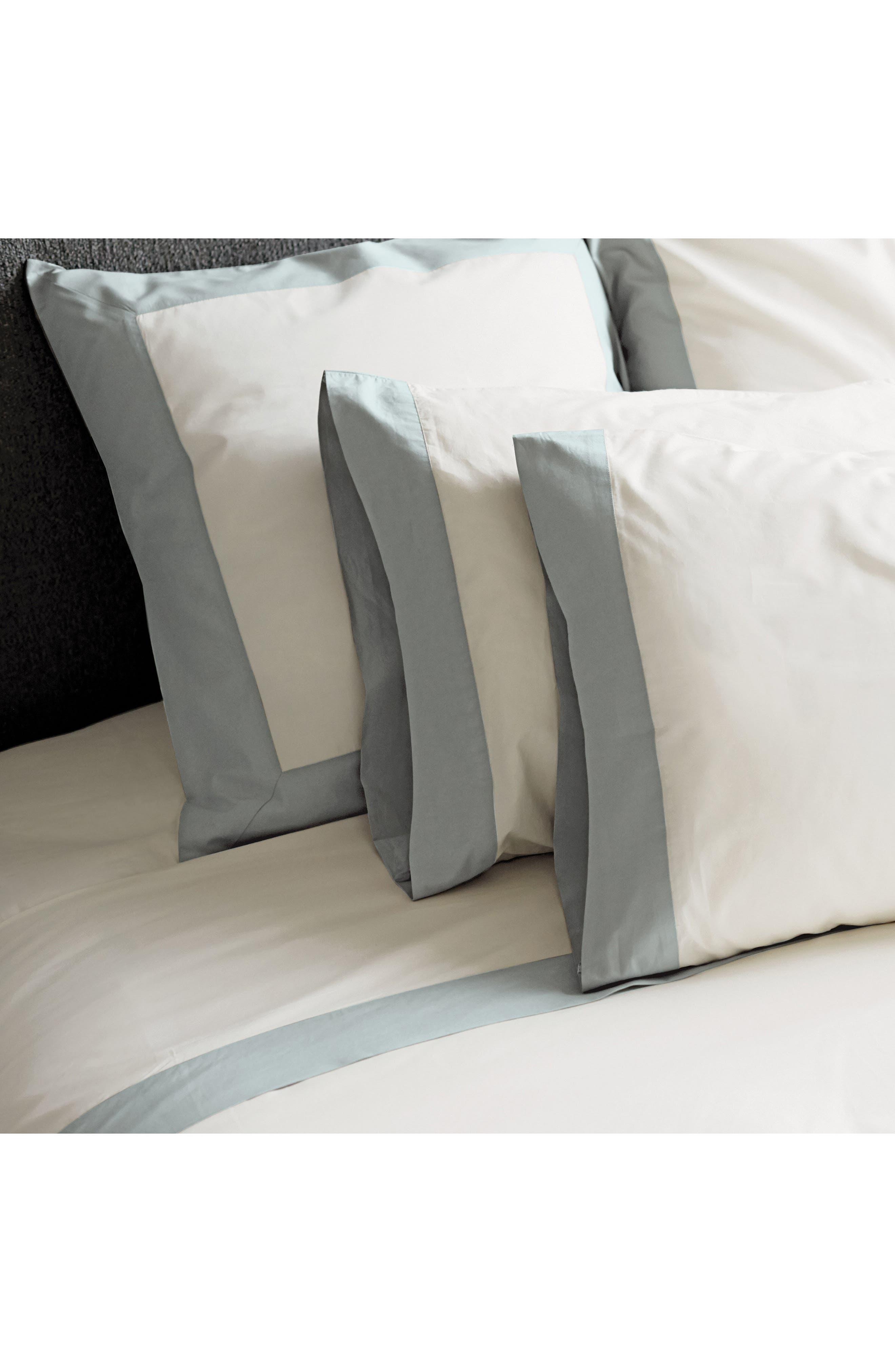 Modern Border 400 Thread Count Pair of Pillowcases,                             Alternate thumbnail 4, color,                             Slate/ Open Green