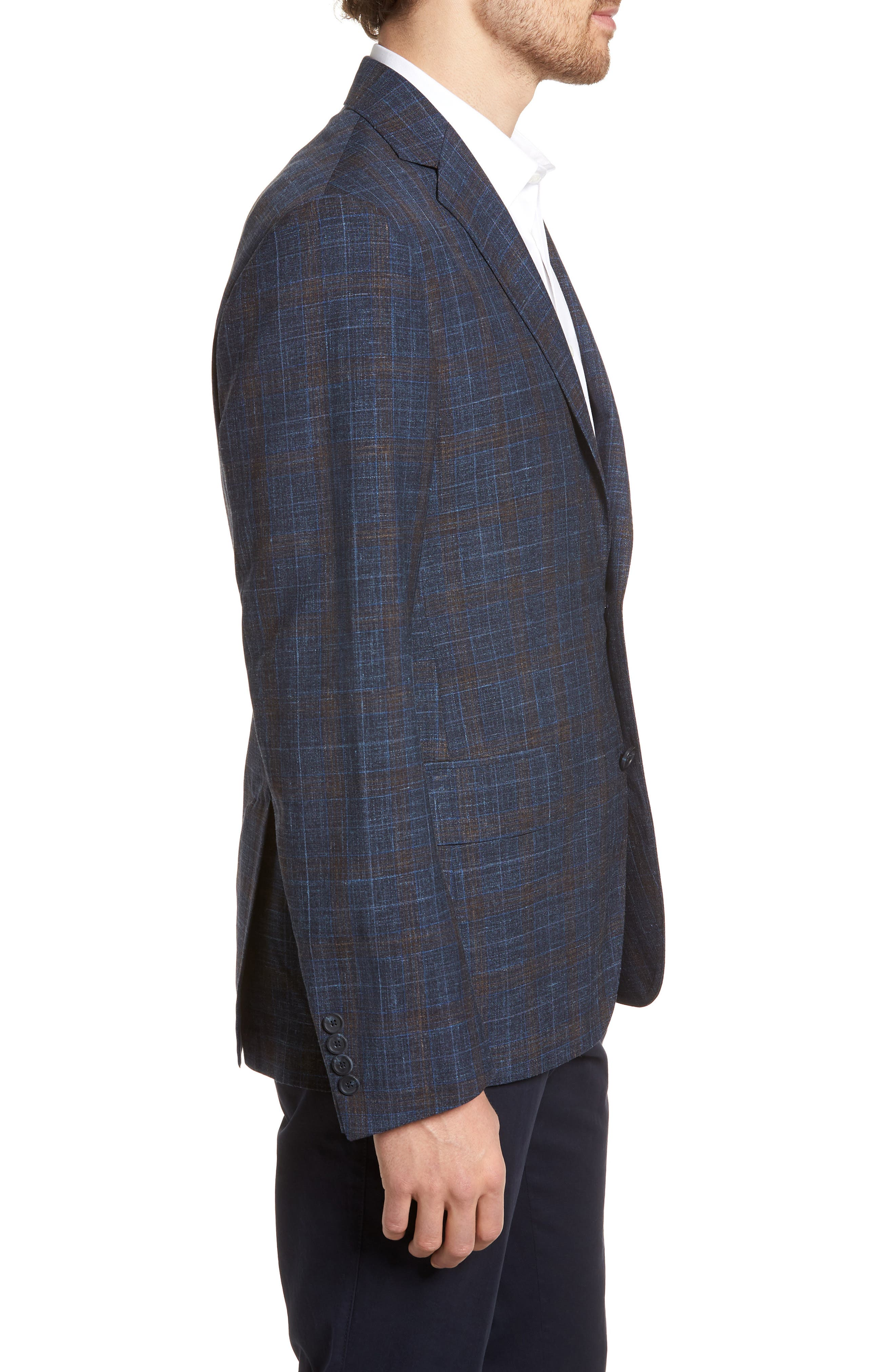 Trim Fit Plaid Wool Blend Sport Coat,                             Alternate thumbnail 3, color,                             Navy