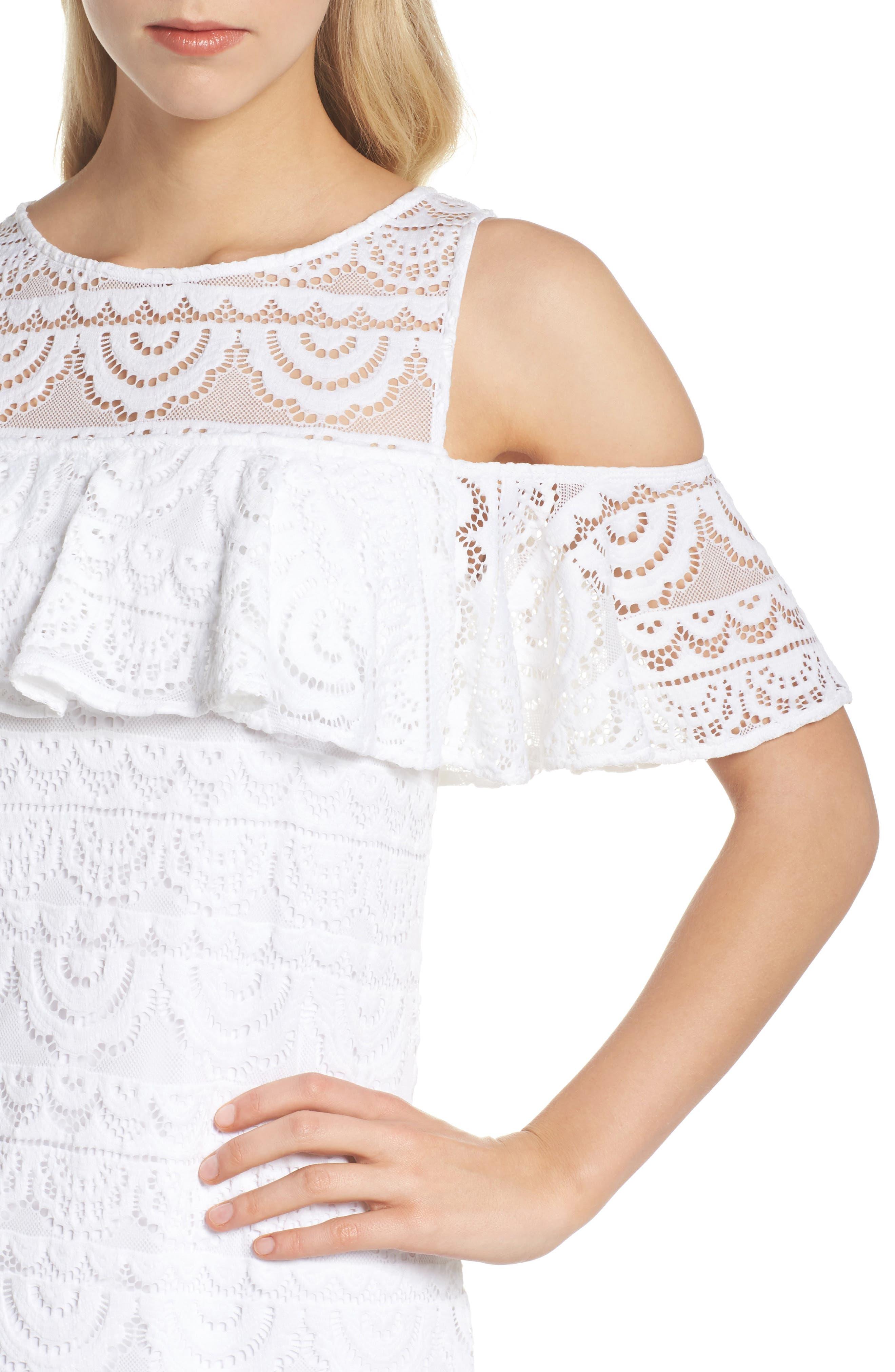 Lyra Cold Shoulder Lace Dress,                             Alternate thumbnail 4, color,                             Resort White Scallop Lace