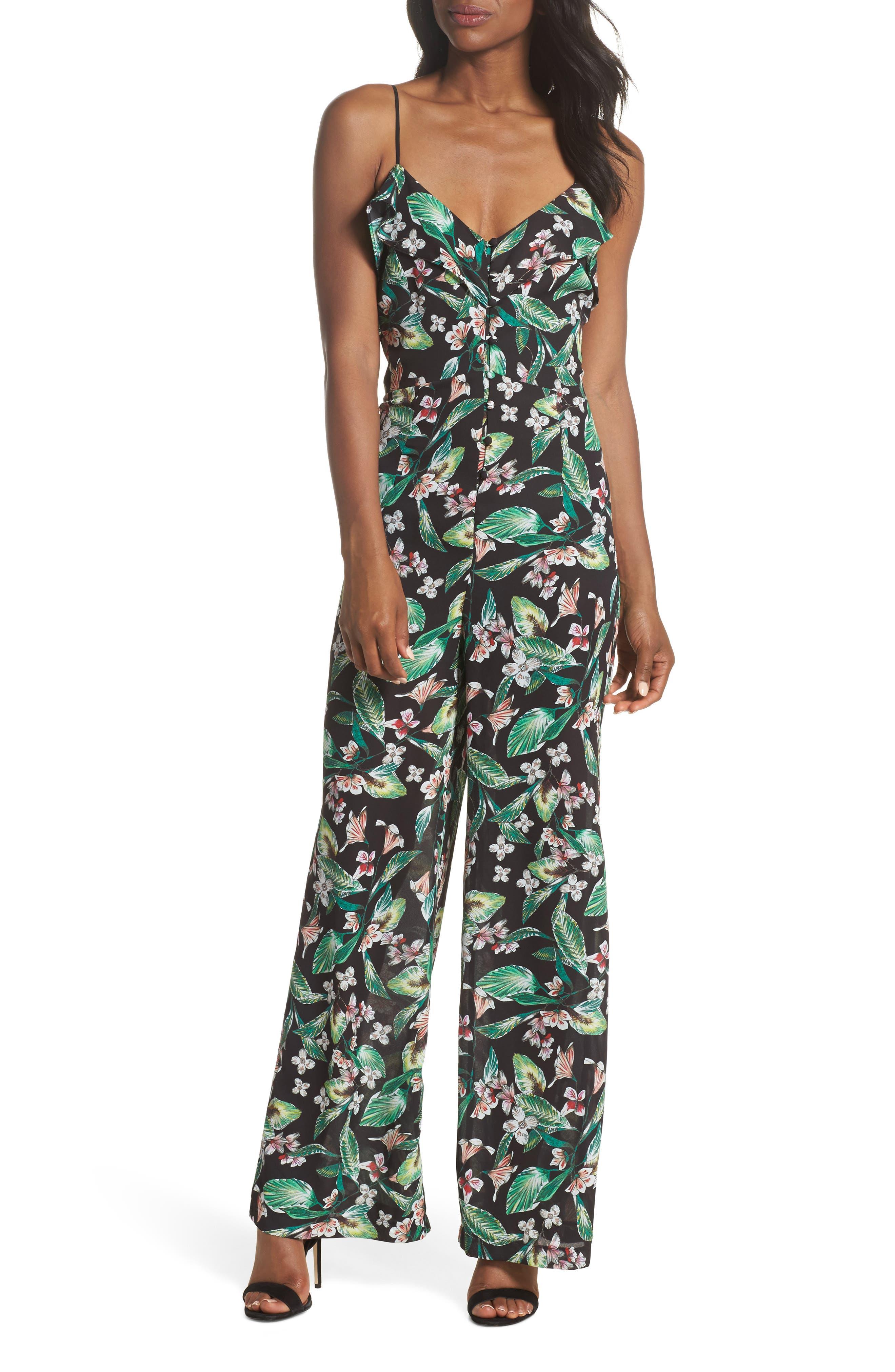 Kimi Floral Jumpsuit,                             Main thumbnail 1, color,                             Black Multi