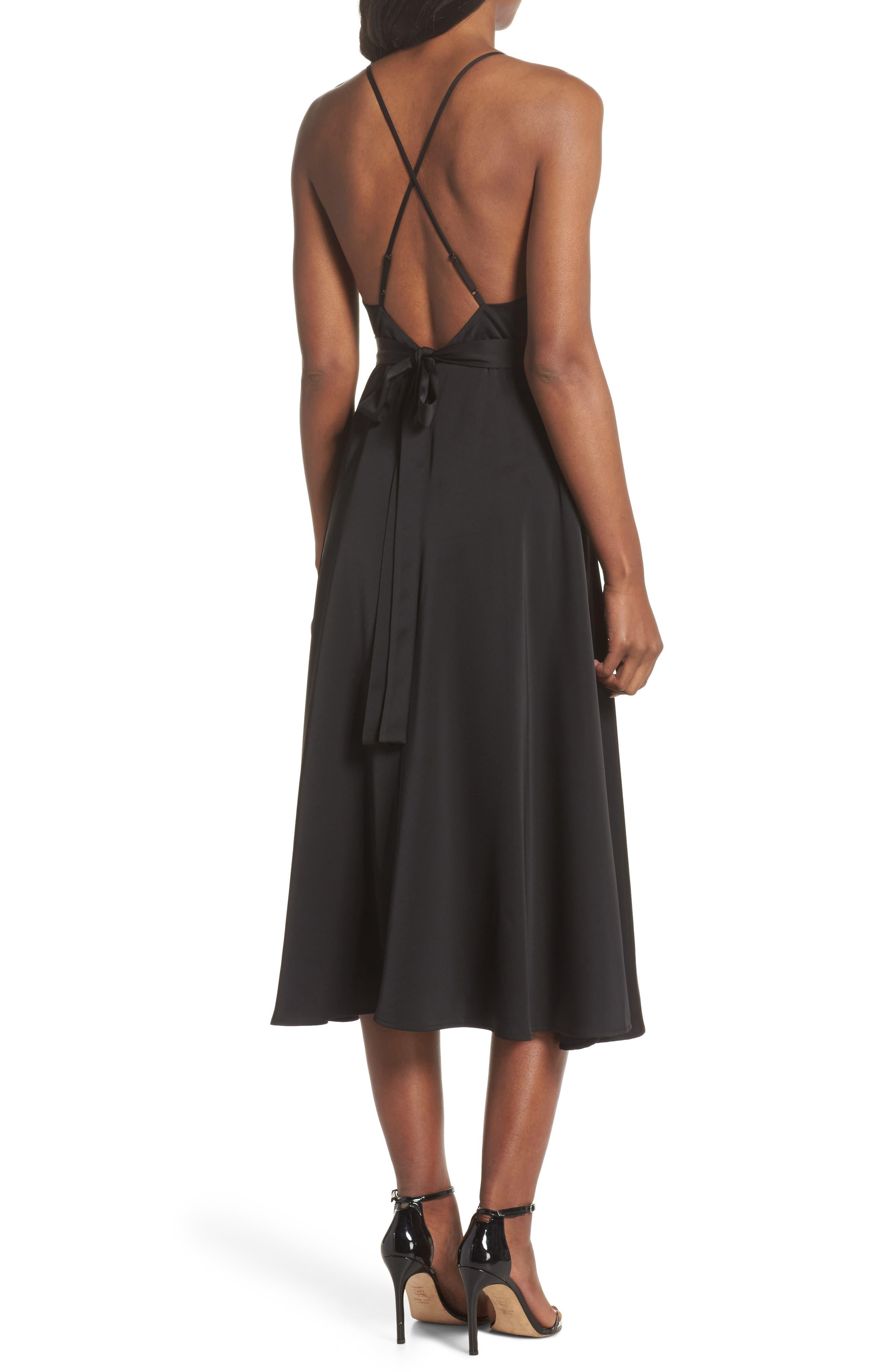 Rhea Floral Appliqué A-Line Dress,                             Alternate thumbnail 2, color,                             Black Multi