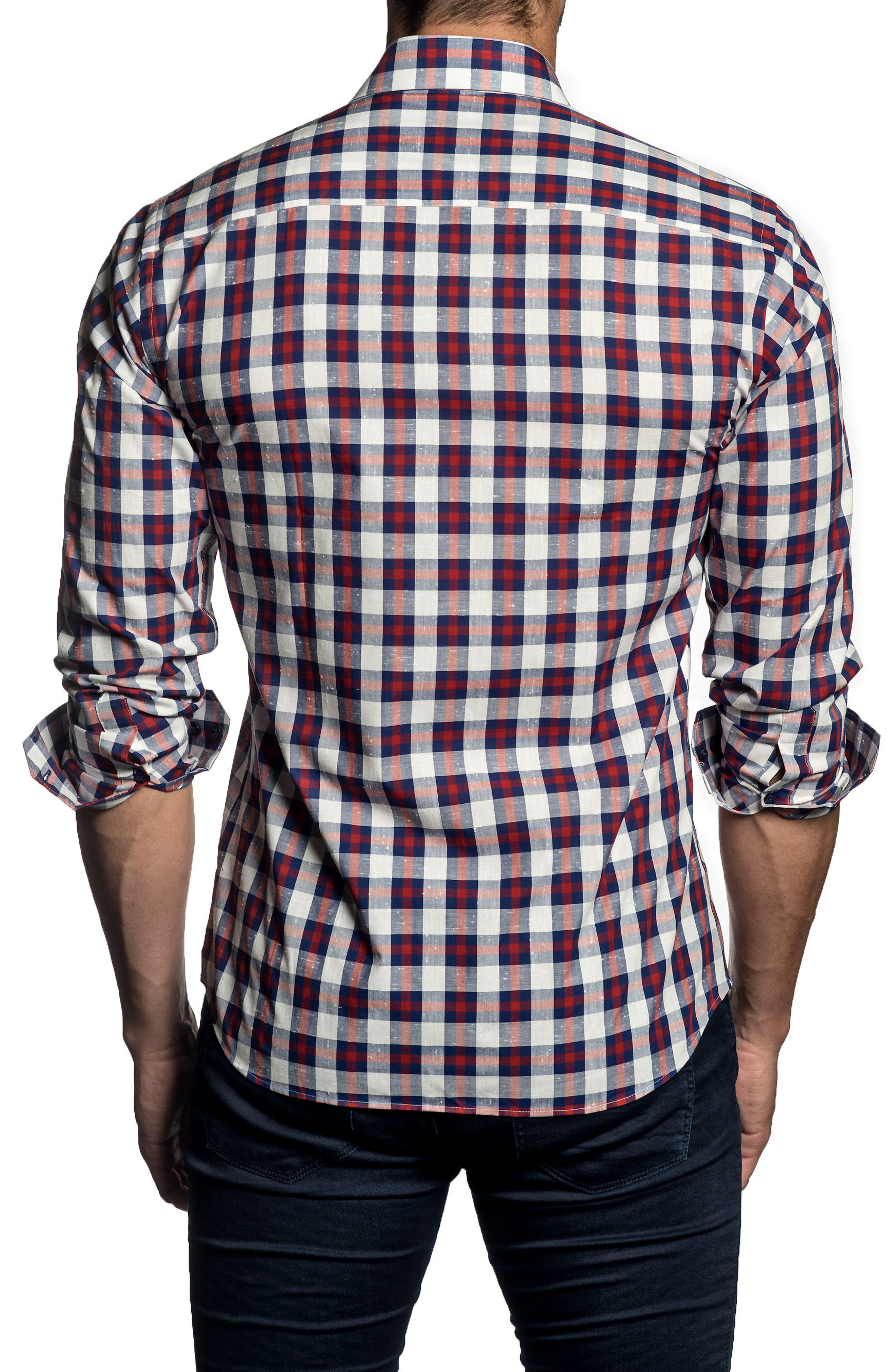 Trim Fit Plaid Sport Shirt,                             Alternate thumbnail 2, color,                             White - Blue - Red Check