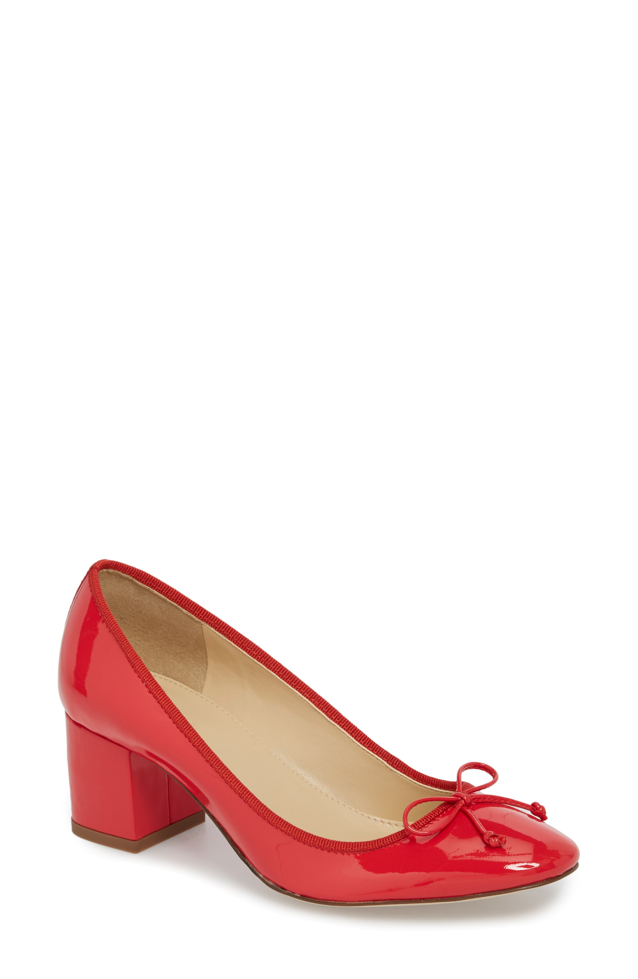 Leonard Pump,                             Main thumbnail 1, color,                             Red Leather