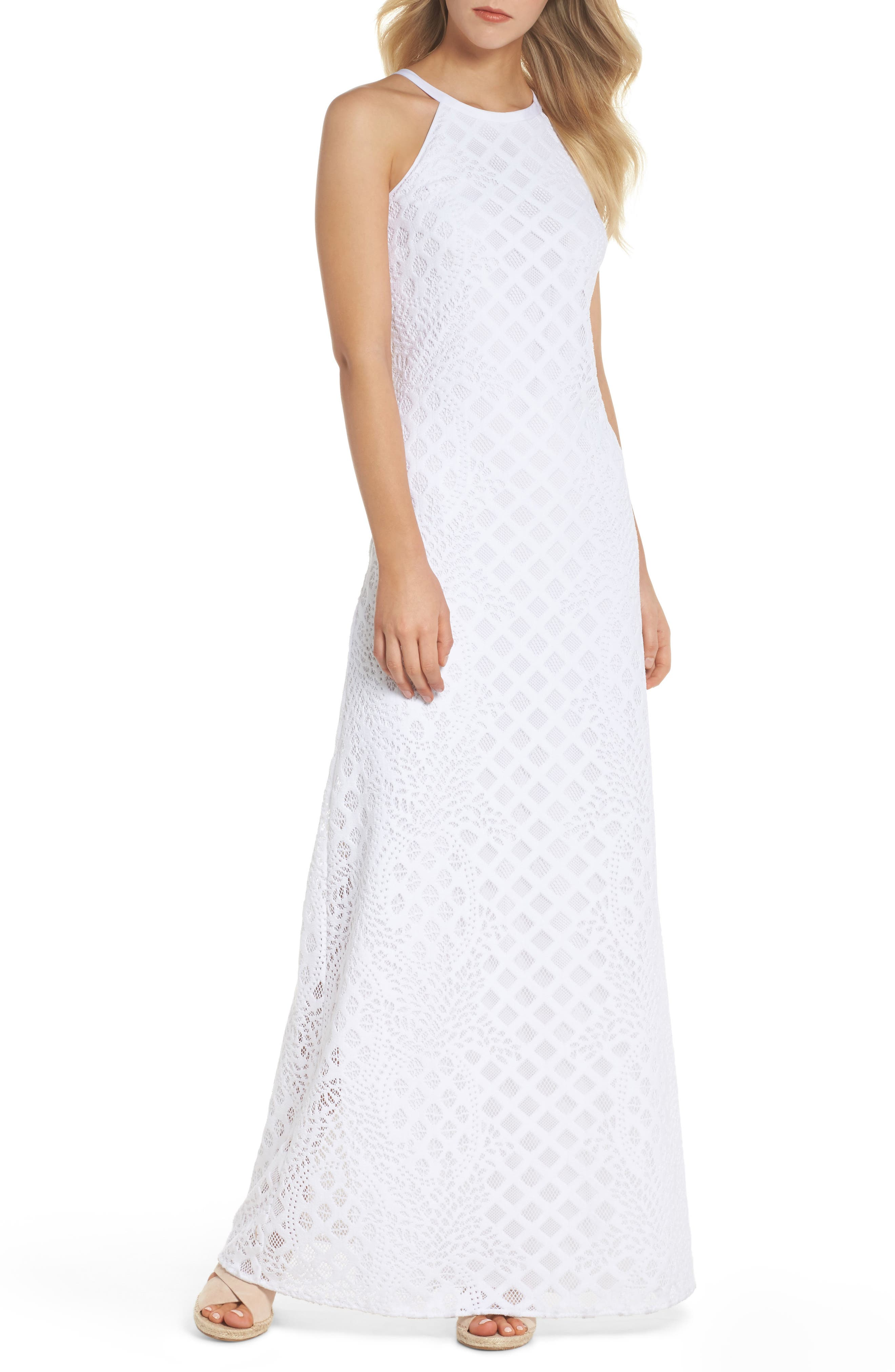 Pearl Maxi Dress,                             Main thumbnail 1, color,                             Resort White Pineapple Lace