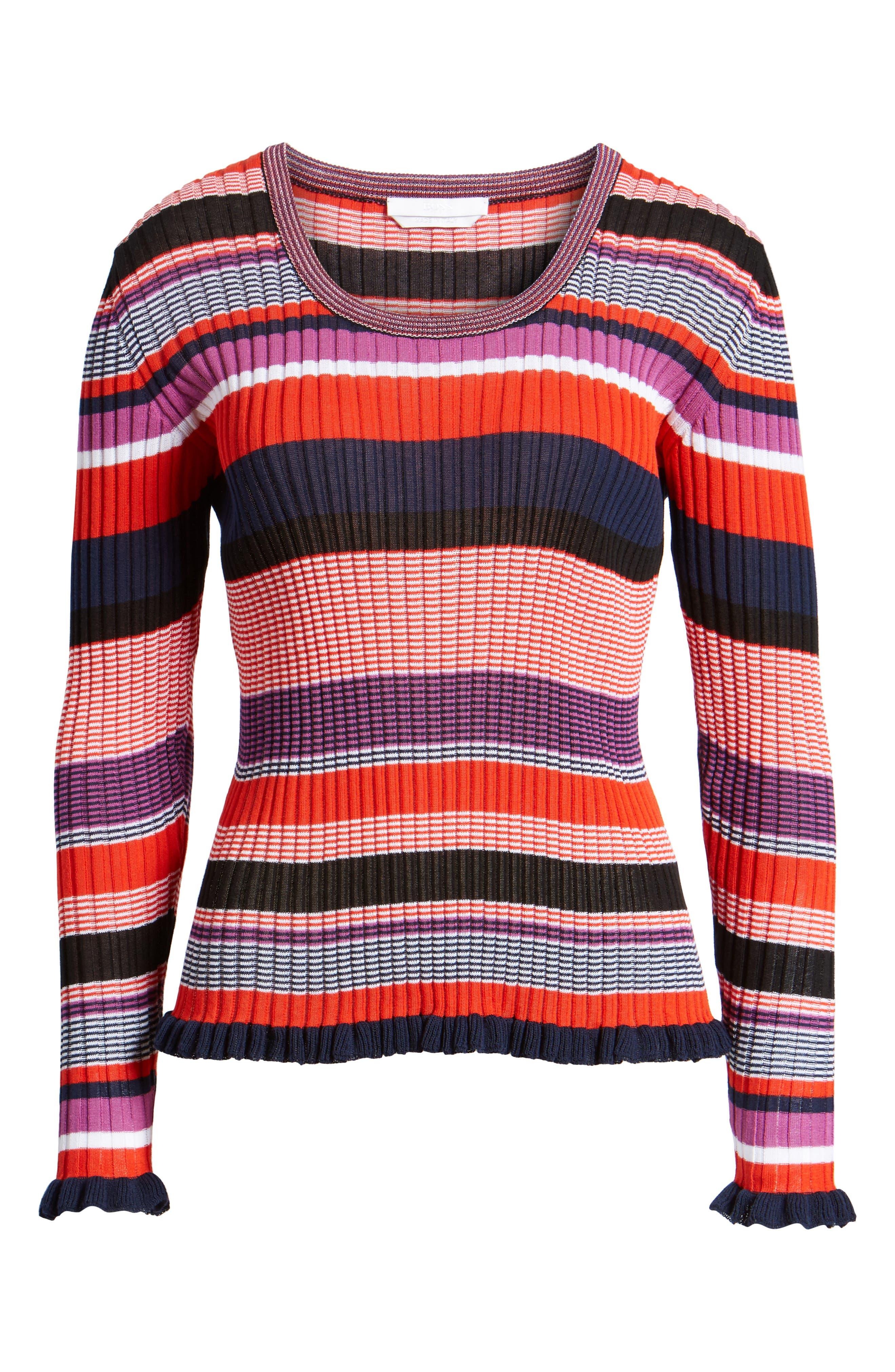 Fallegria Stripe Sweater,                             Alternate thumbnail 8, color,                             Black Fantasy
