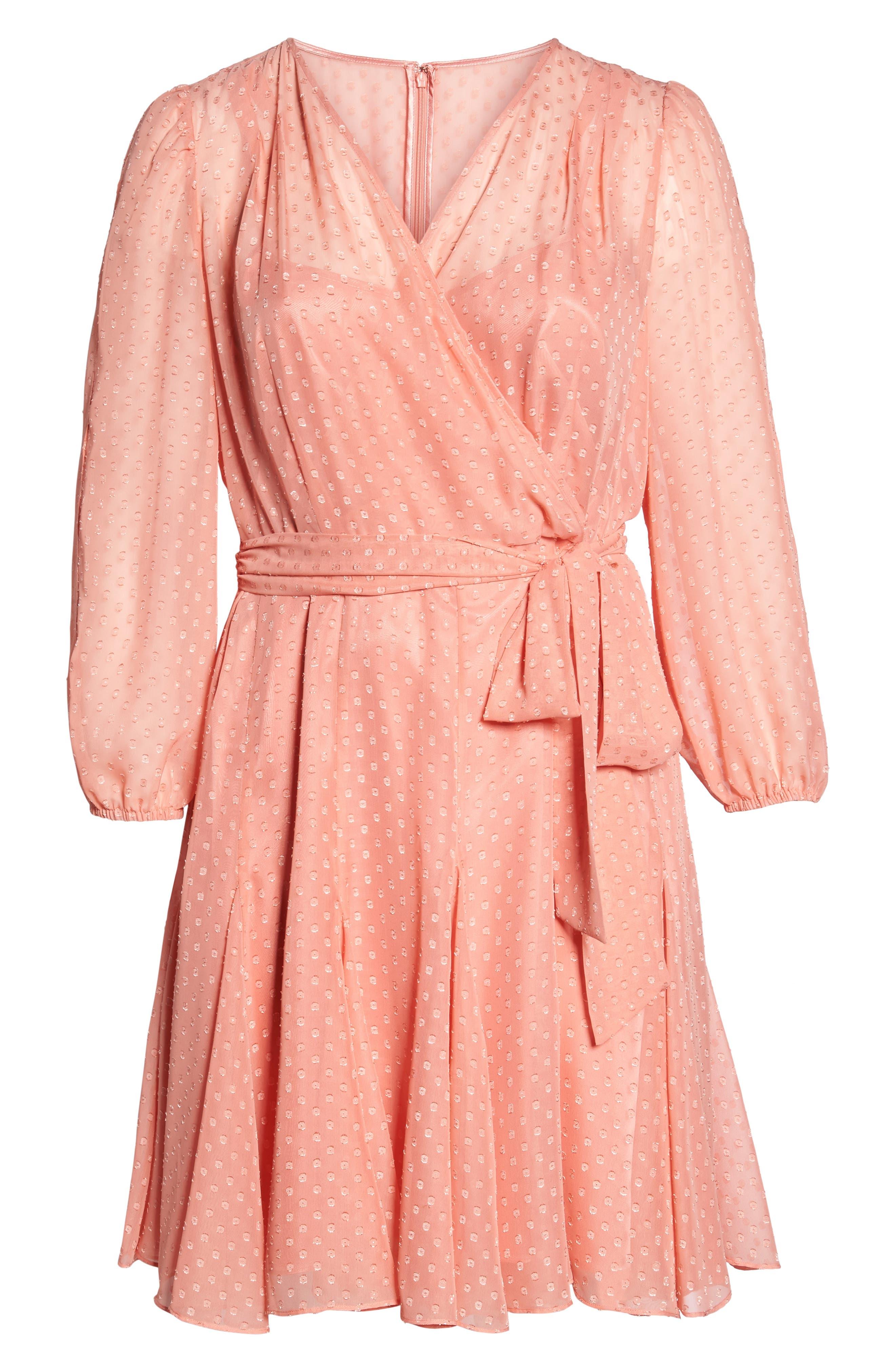 Split Sleeve Swiss Dot Chiffon Faux Wrap Dress,                             Alternate thumbnail 6, color,                             Soft Coral