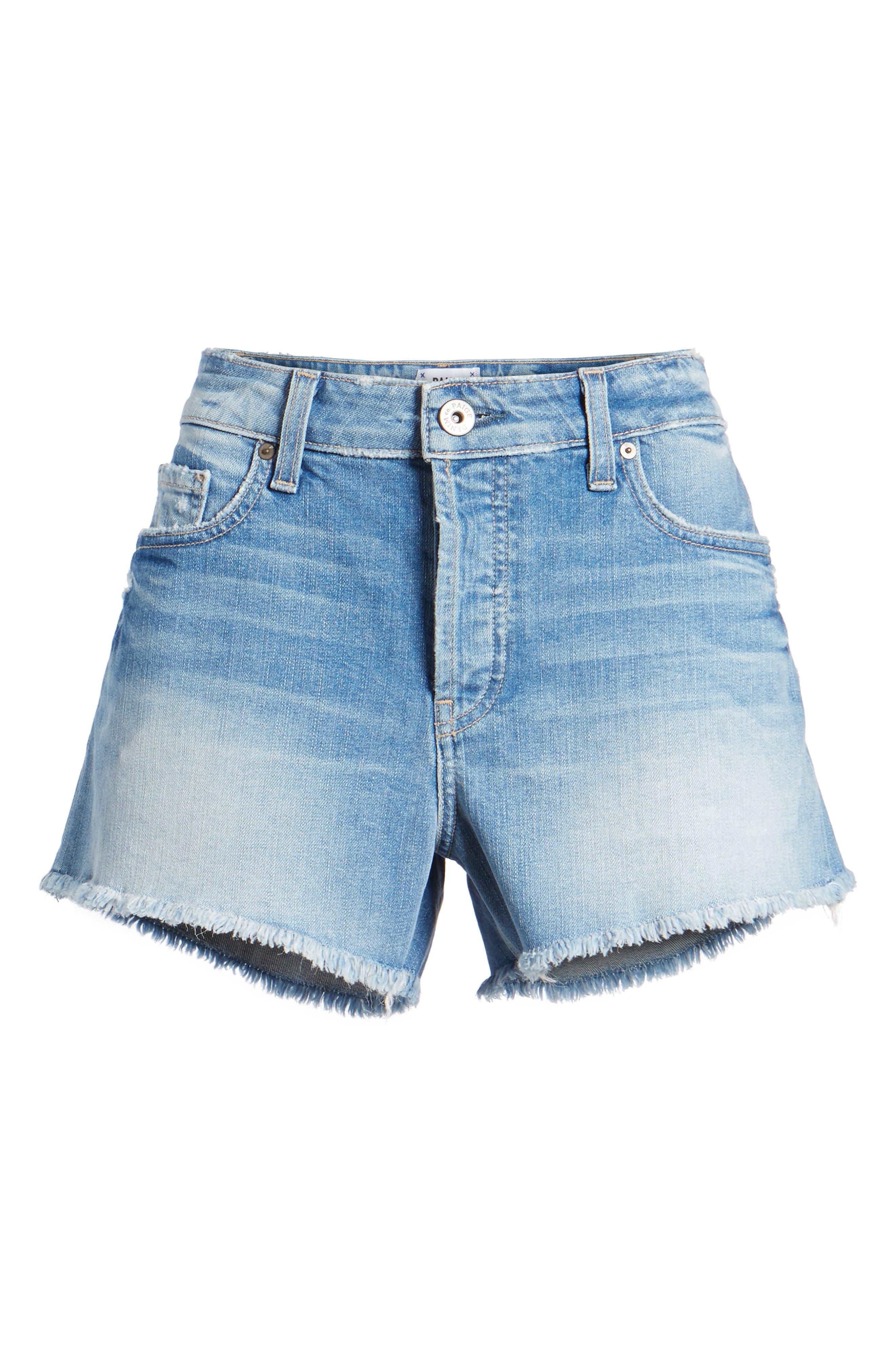 Emmitt High Waist Cutoff Denim Shorts,                             Alternate thumbnail 7, color,                             Janis Destructed