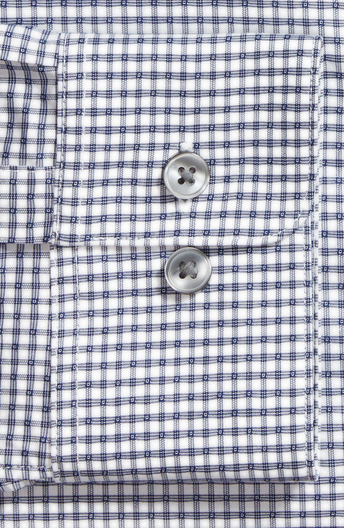 Slim Fit Stretch Check Dress Shirt,                             Alternate thumbnail 5, color,                             Indigo