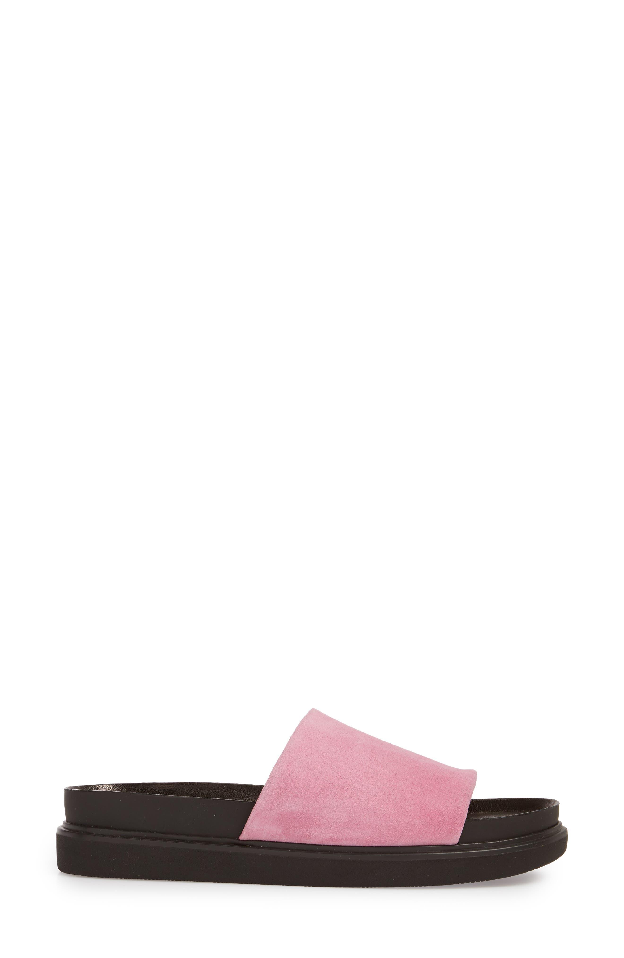 Erin Slide Sandal,                             Alternate thumbnail 3, color,                             Pink Suede