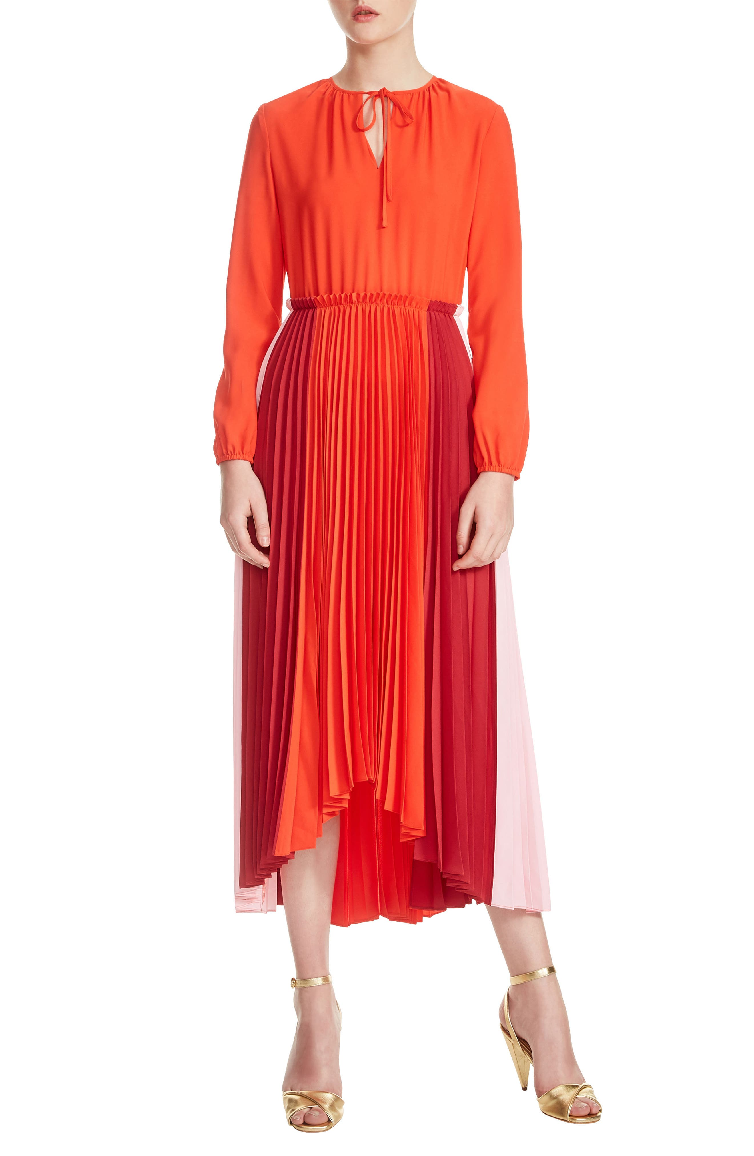 Reona High/Low Pleated Dress,                             Main thumbnail 1, color,                             Multicolor