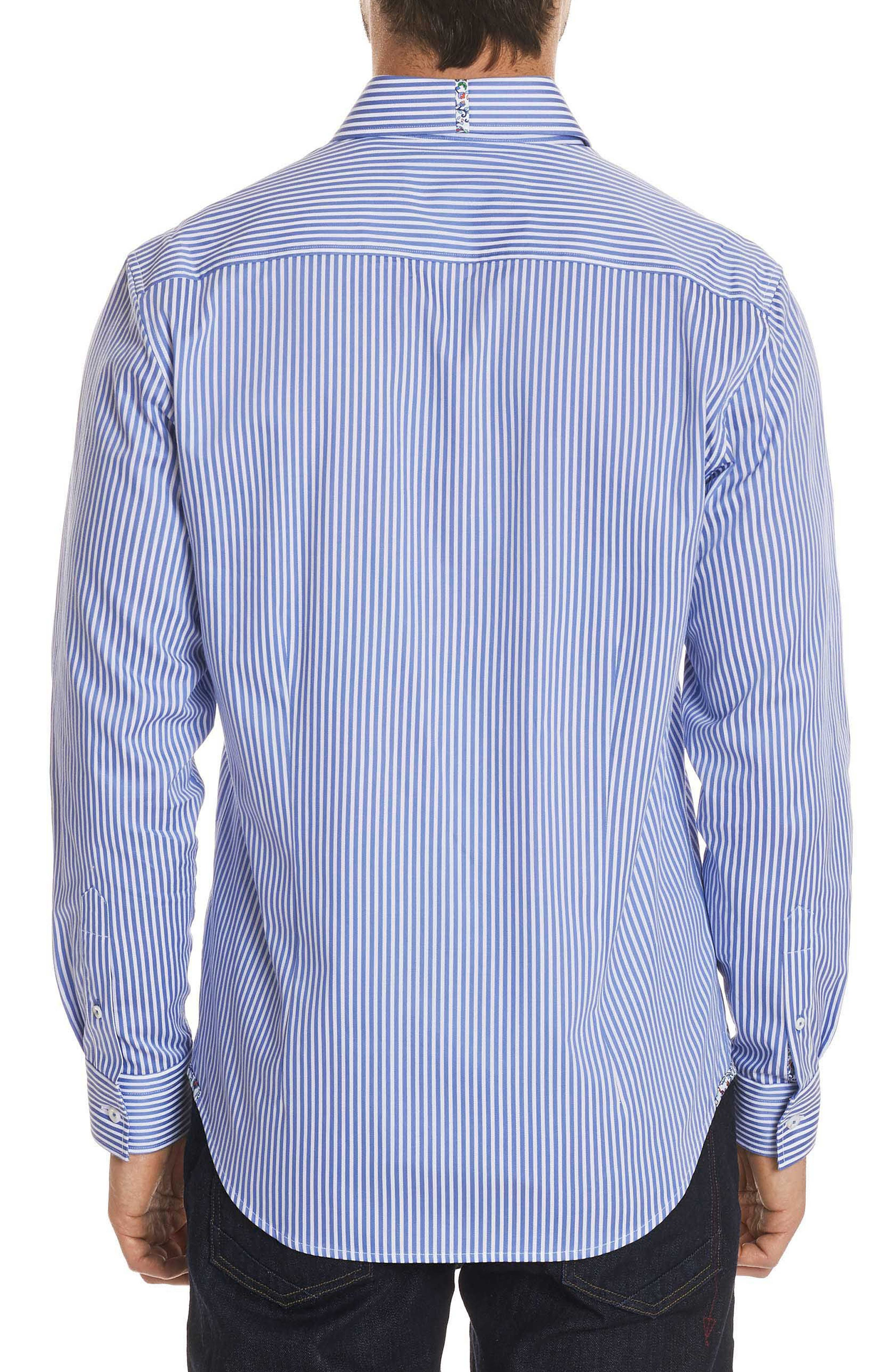 Luther Classic Fit Stripe Sport Shirt,                             Alternate thumbnail 2, color,                             Steel