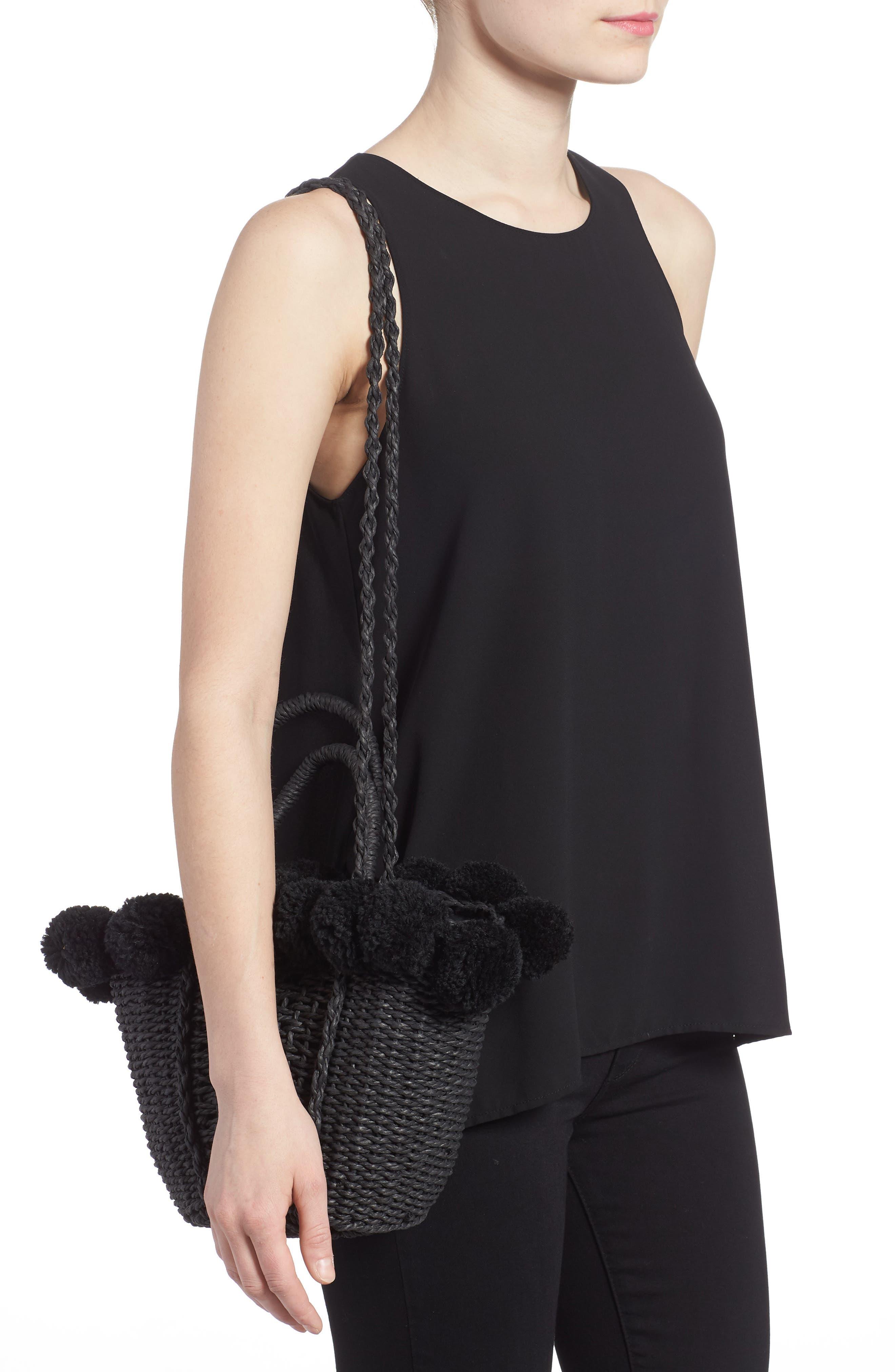 Sia Pom Straw Shopper Bag,                             Alternate thumbnail 2, color,                             Black