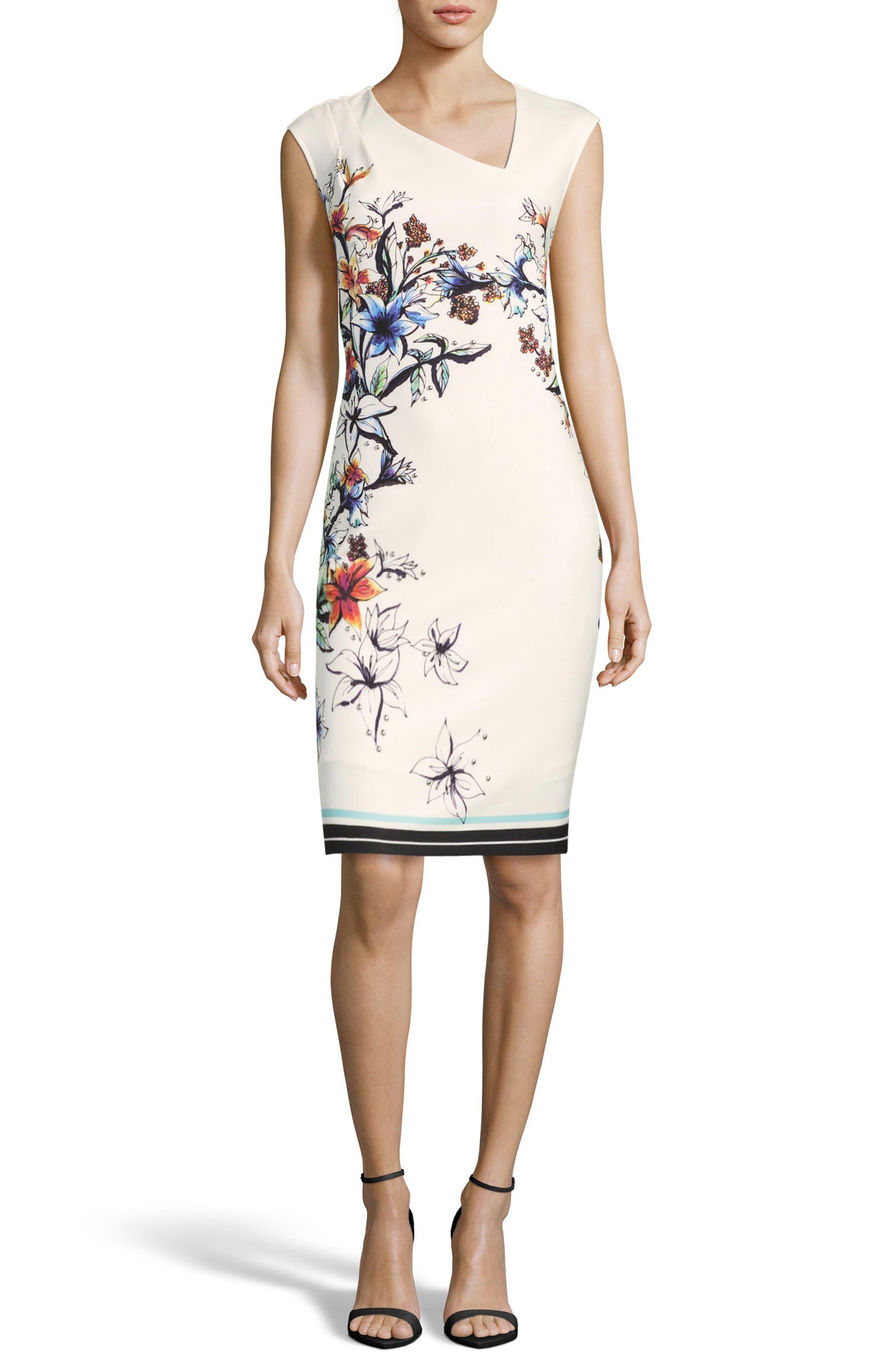 Floral Asymmetric Sheath Dress,                             Main thumbnail 1, color,                             Ivory/ Multi