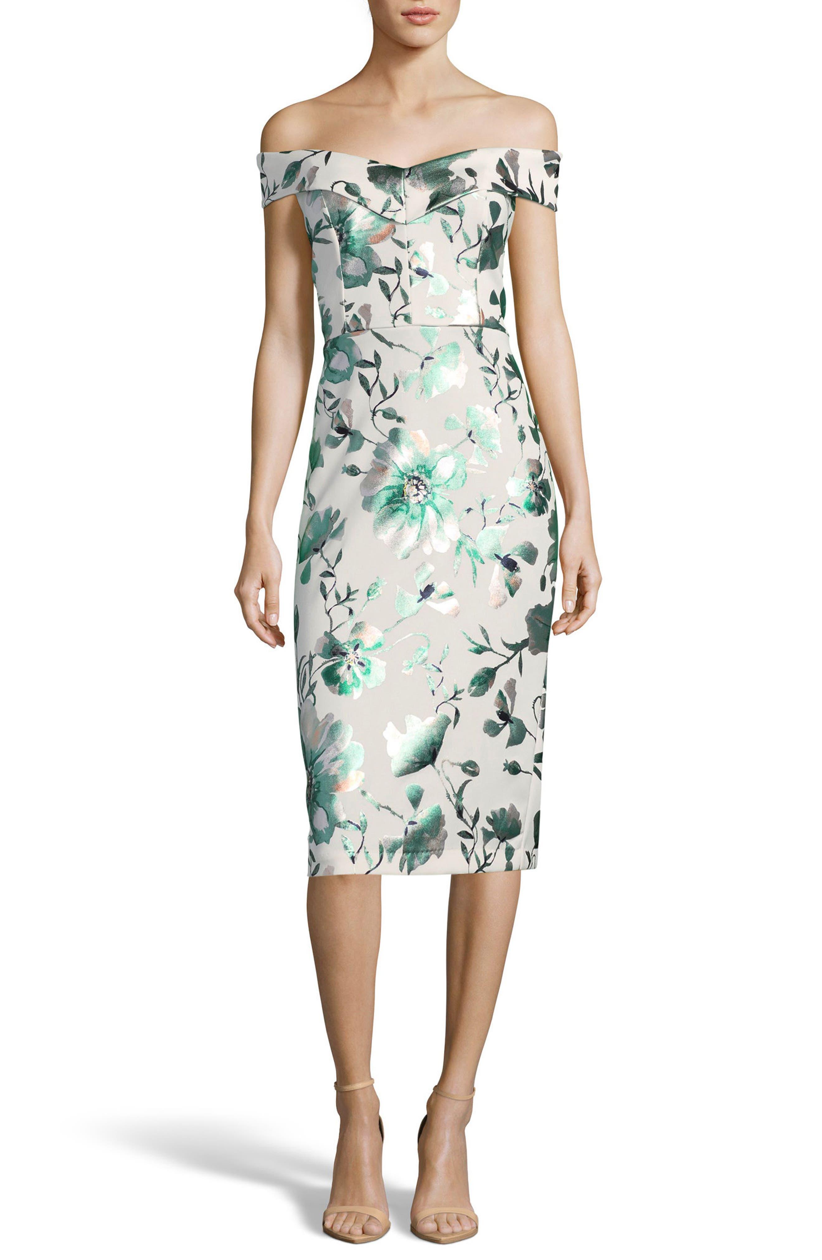 Off the Shoulder Scuba Sheath Dress,                             Main thumbnail 1, color,                             Ivory/ Jade