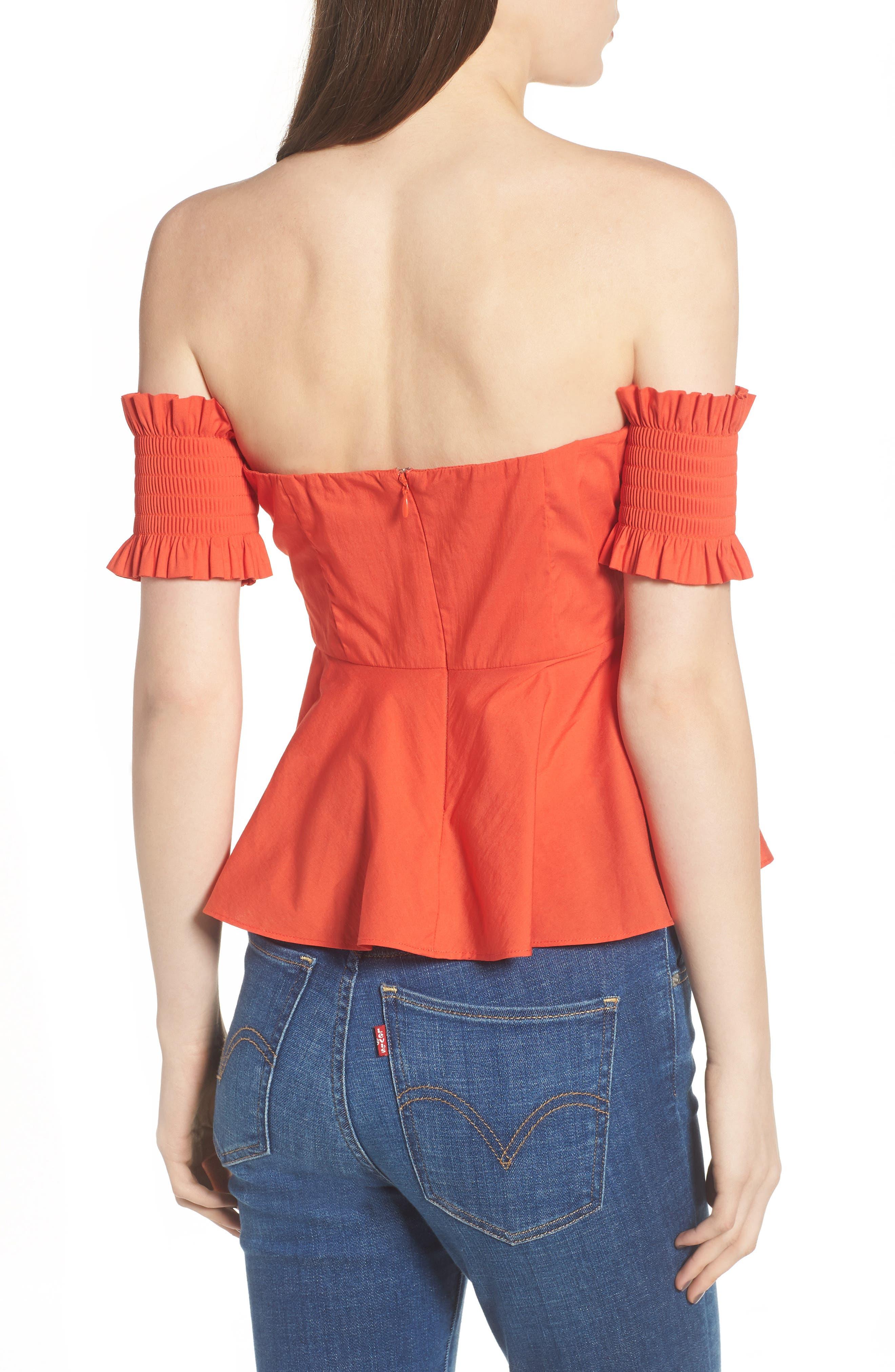 Smocked Off the Shoulder Top,                             Alternate thumbnail 2, color,                             Burnt Orange