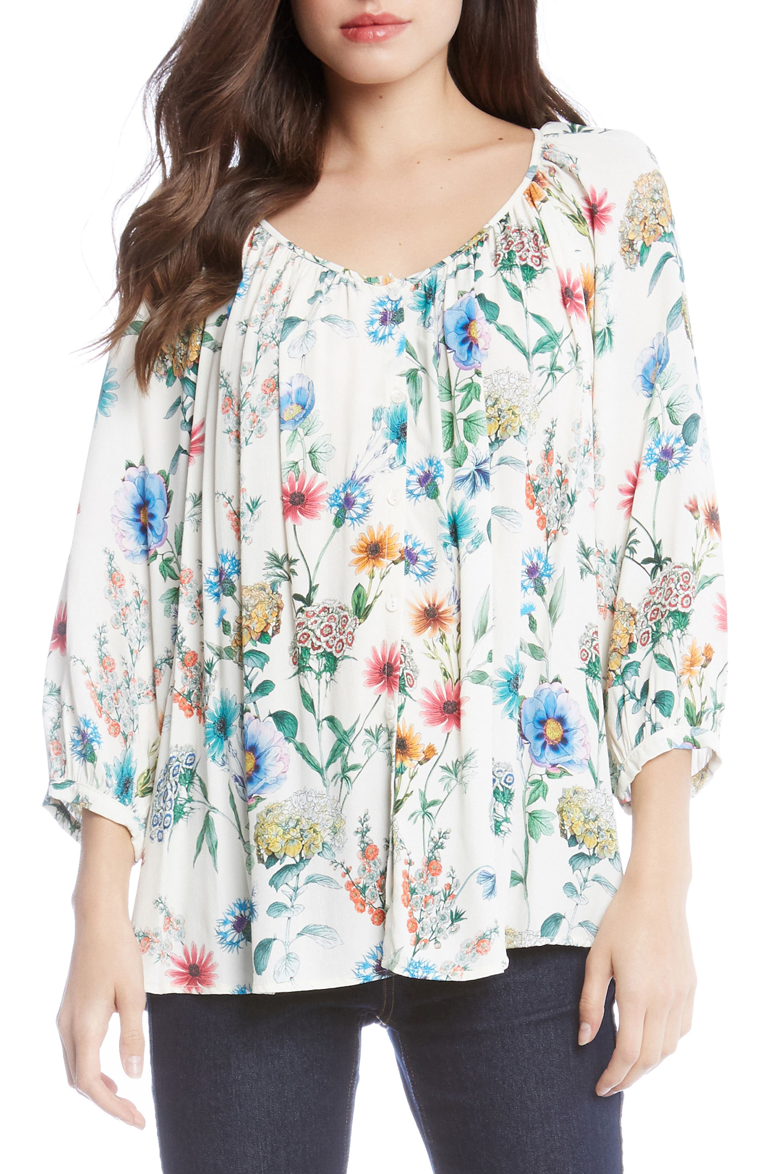 Floral Peasant Blouse,                         Main,                         color, Print