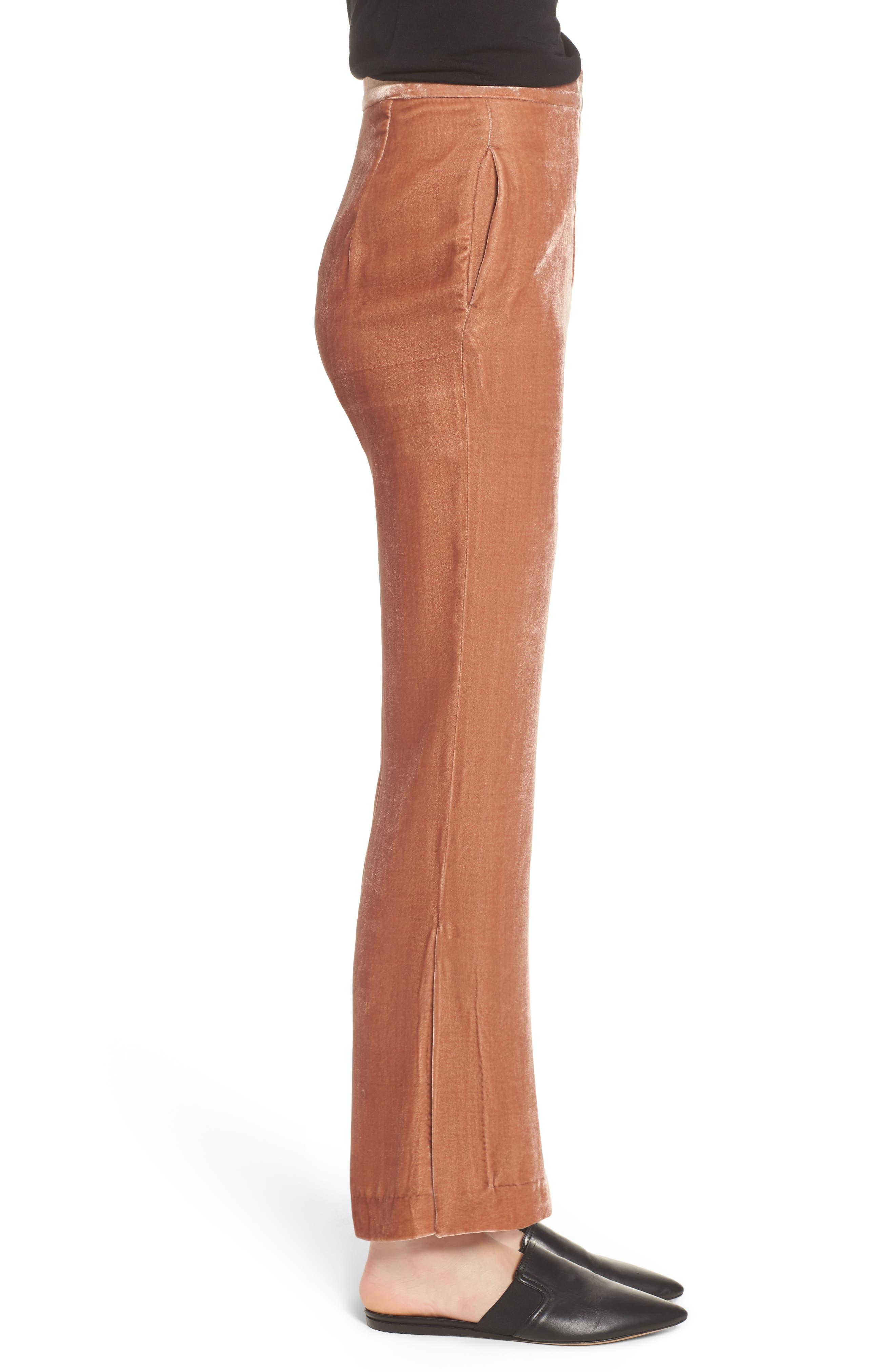Bushwick Velvet Pants,                             Alternate thumbnail 3, color,                             Brown